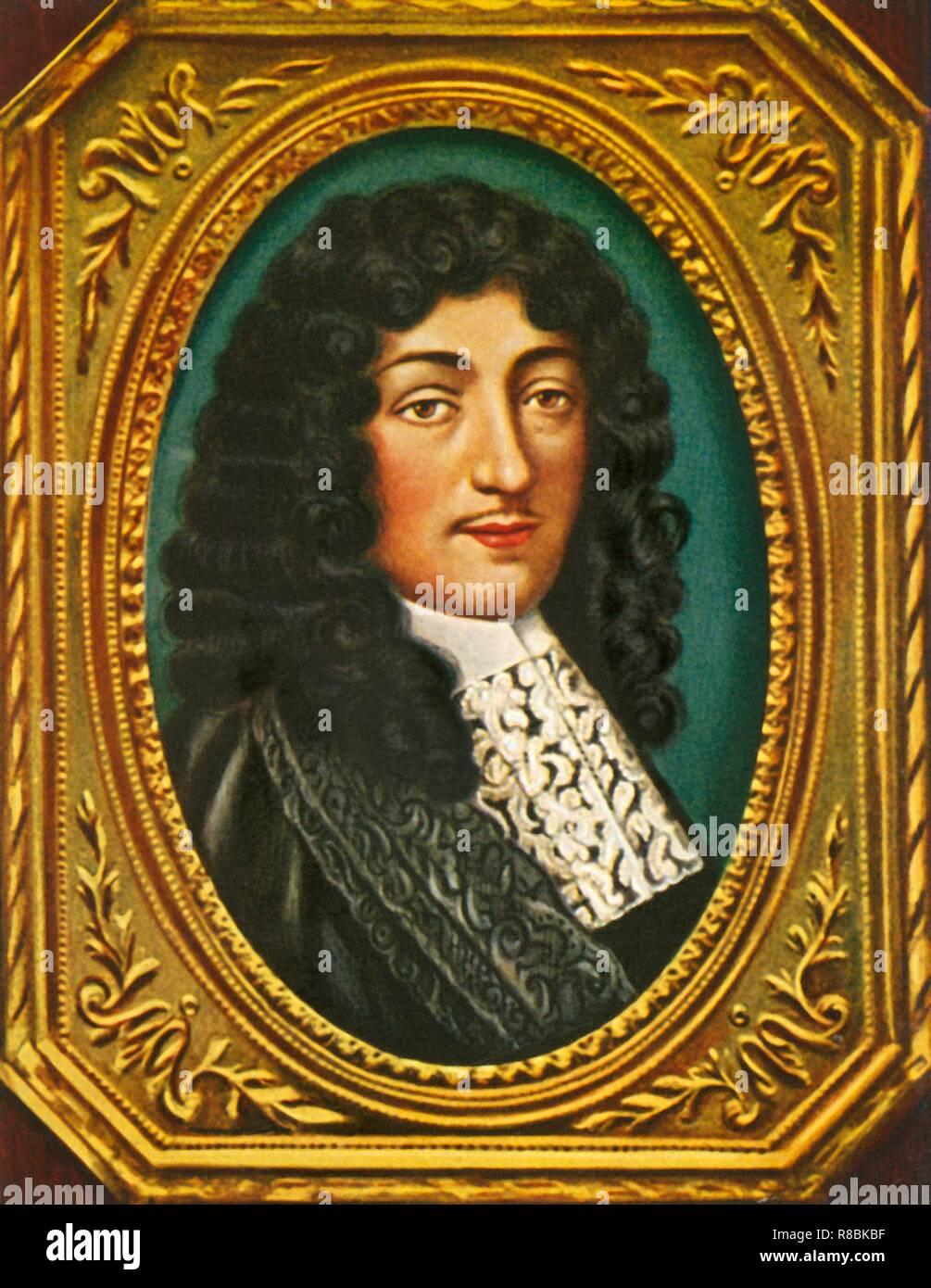 """""""Jean-Baptiste Colbert', (1933). Portrait d'homme d'État français Jean-Baptiste Colbert (1619-1683), le Ministre en chef. Il a été responsable de la réforme de l'administration financière chaotique et le système d'imposition de la France et a supervisé l'expansion et la modernisation de l'industrie manufacturière. Son succès dans la gestion de l'économie française a été particulièrement remarquable étant donné le penchant du roi pour dépenser la richesse de la nation sur les guerres et le luxe. Colbert a également joué un rôle important dans le développement de la France en tant que puissance navale. Après une miniature par Robert Vouquer. À partir de """"Gestalten Der Weltgeschichte&quo Photo Stock"""