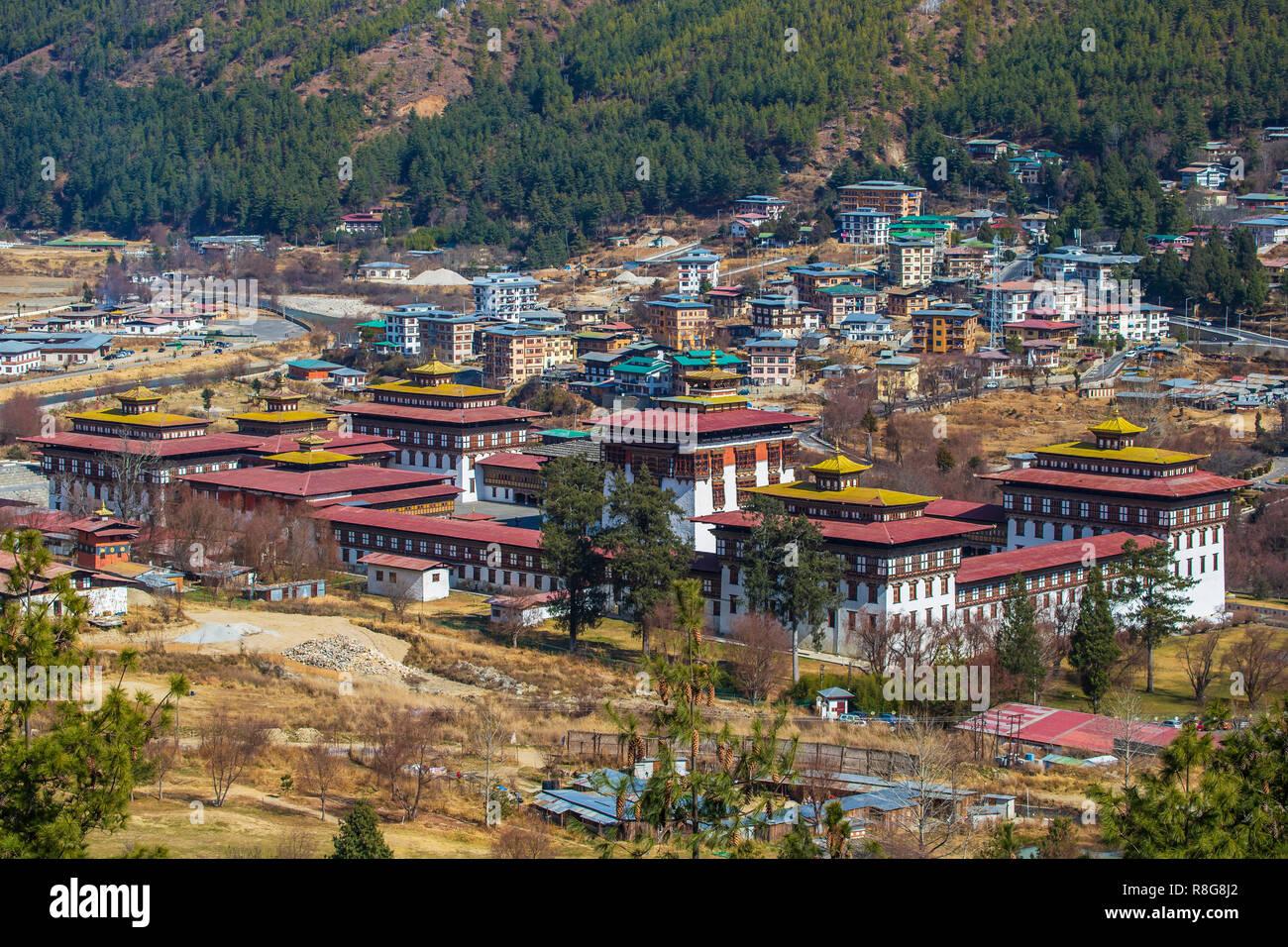 Tashichho Dzong à Thimphu, Bhoutan Photo Stock
