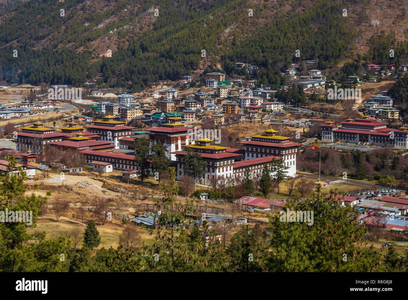 Tashichho Dzong et à l'Assemblée nationale à Thimphu, Bhoutan Photo Stock