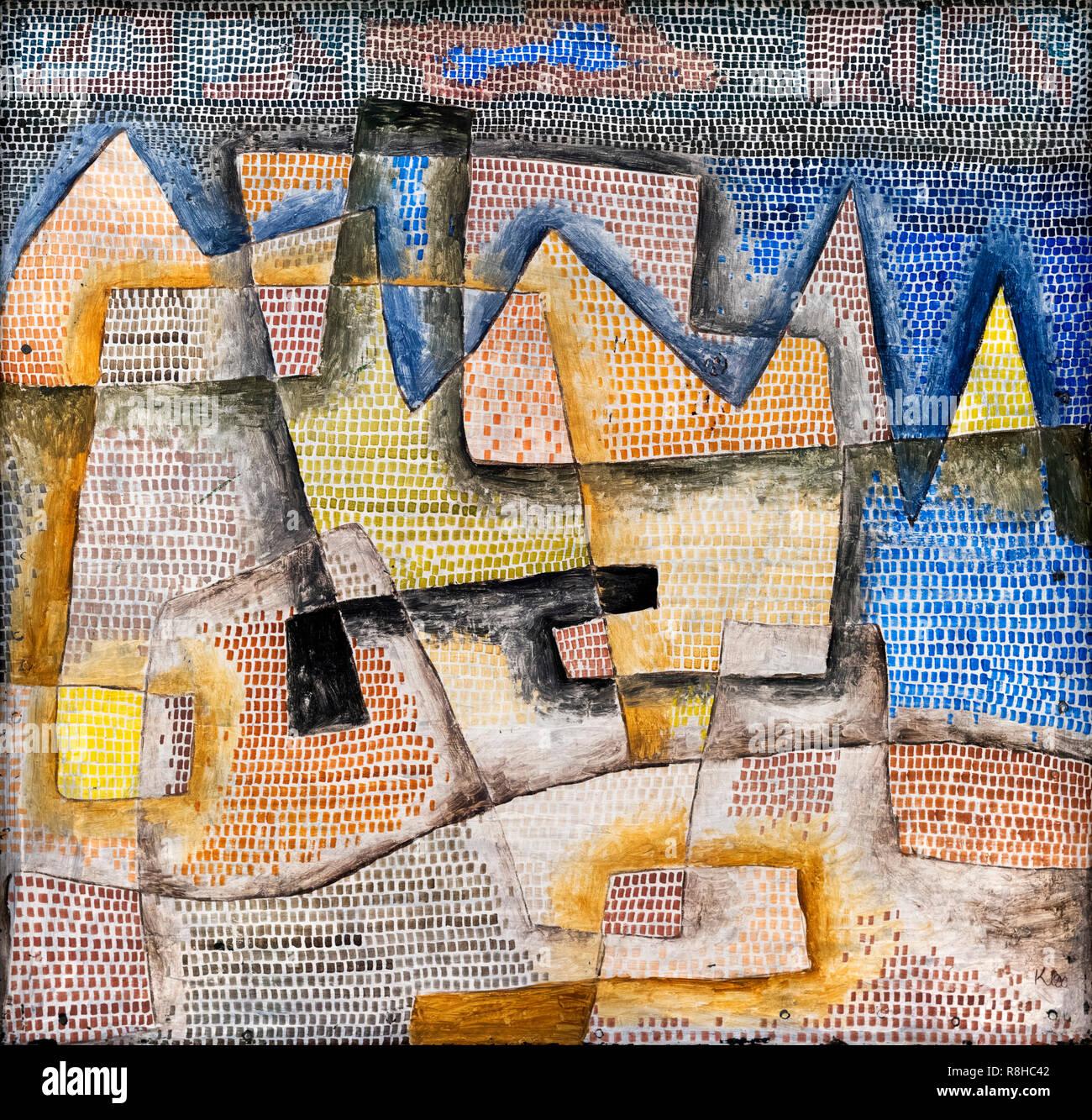 Côte Rocheuse par Paul Klee (1879-1940), huile sur contreplaqué, 1931 Photo Stock