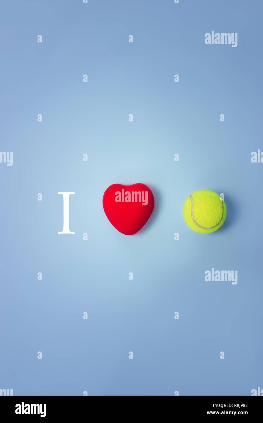 J'aime le tennis concept top view Photo Stock