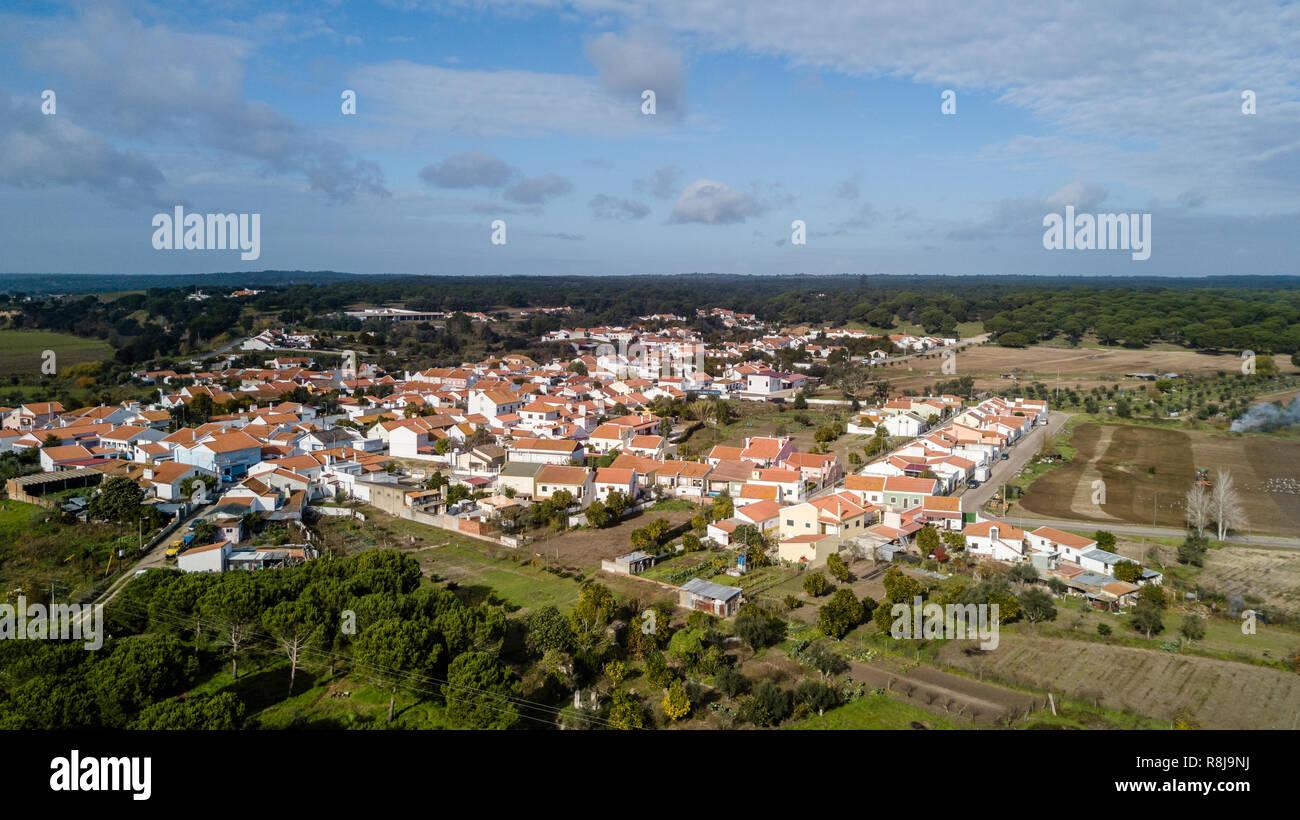 Vue sur le Santa Justa,Portugal Santarem Coruche. Drone aérien bird's eye view photo. Banque D'Images