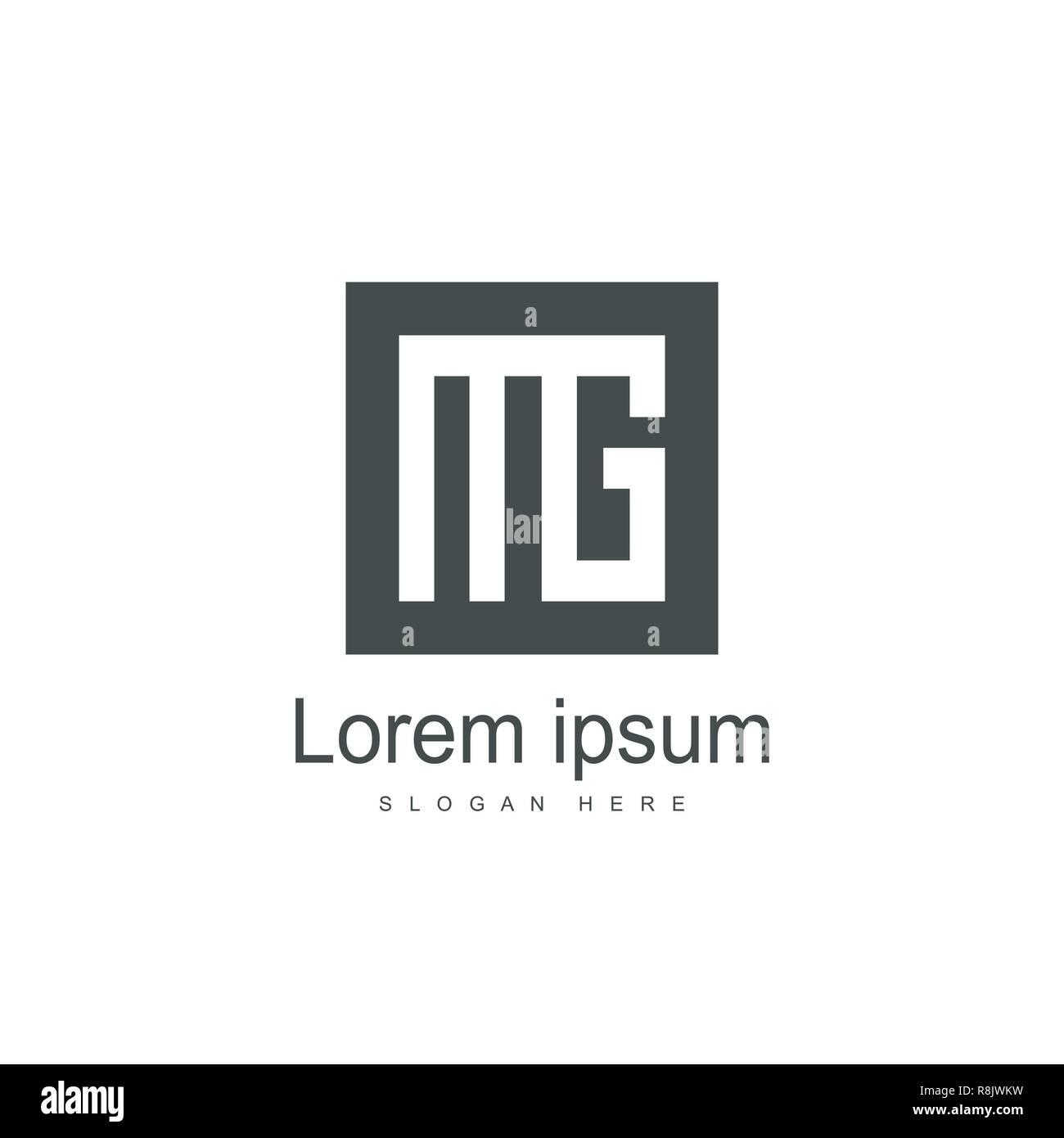 Lettre Initiale Template Design Logo Mg Lettre Minimaliste Vecteur