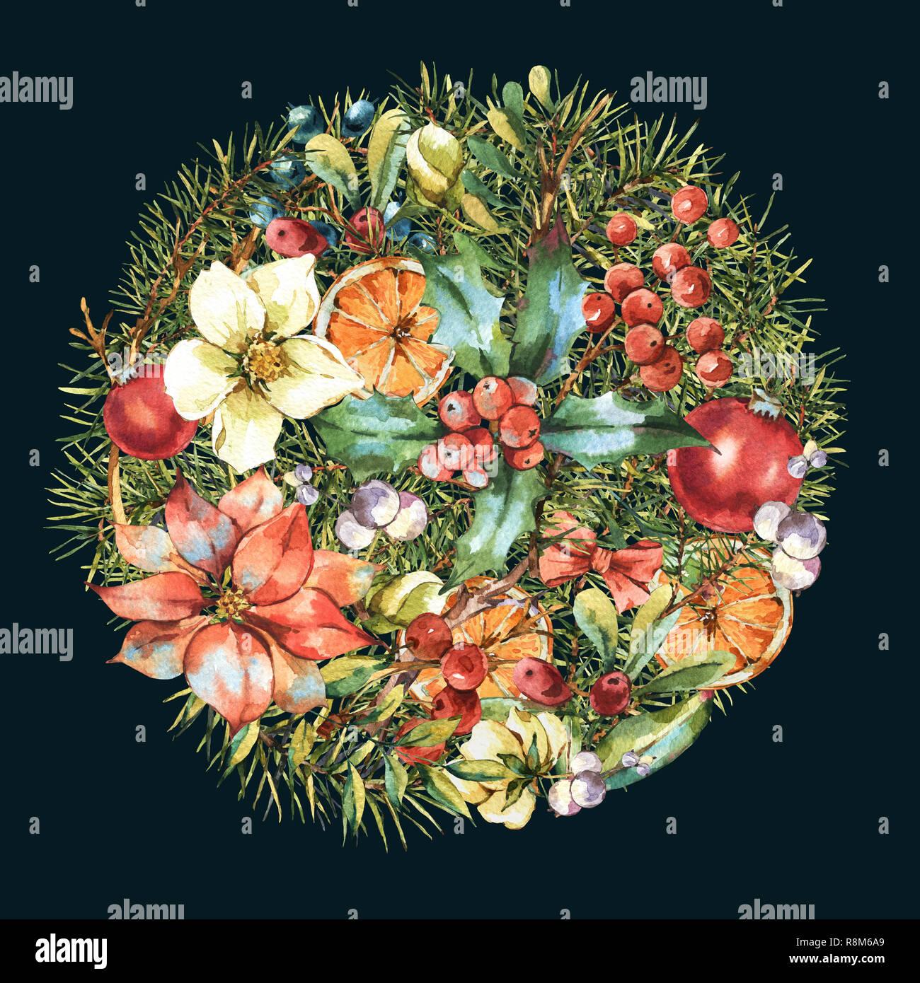 Bouquet De Noel Avec Du Houx cartes florales vintage aquarelle, nouvel an avec décoration