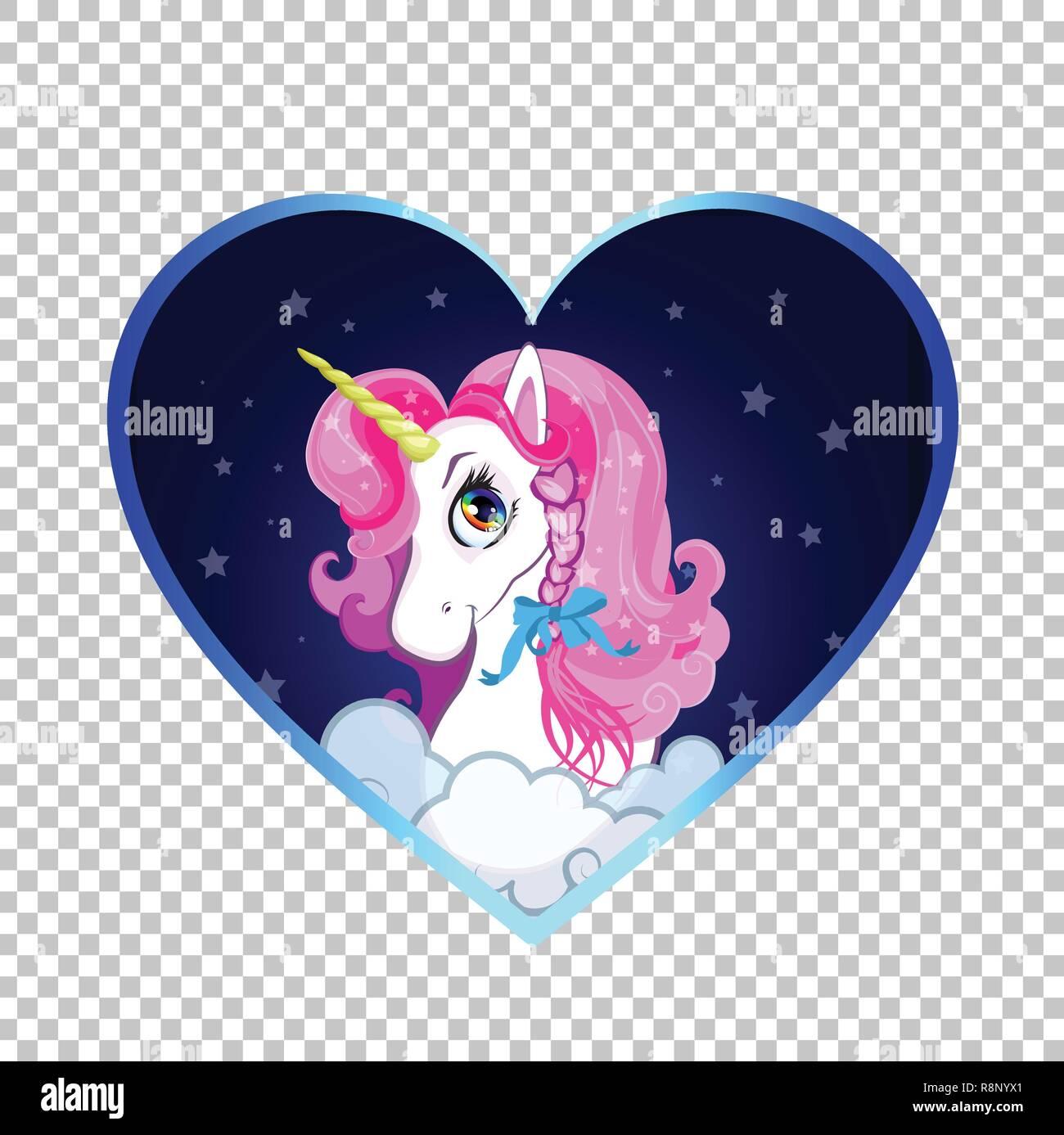 Coloriage Tete Licorne En Amour.Poney Blanc Dessin Anime Avec Tete De Licorne Criniere Rose A L