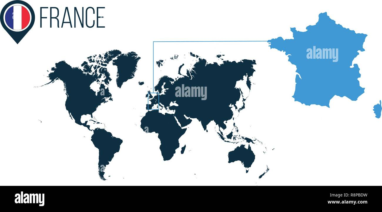 France Moderne Emplacement Carte Vectorielle Pour L Infographie Tous Les Pays Du Monde Sans Nom La France Dans L Axe De La Carte Ou Marqueur Vector Illustration Image Vectorielle Stock Alamy