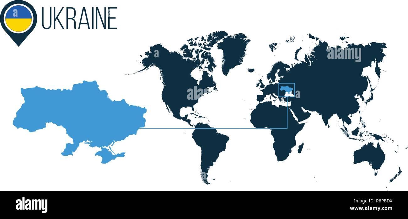 Ukraine Carte Du Monde.L Ukraine L Emplacement De Carte Vectorielle Moderne Pour L