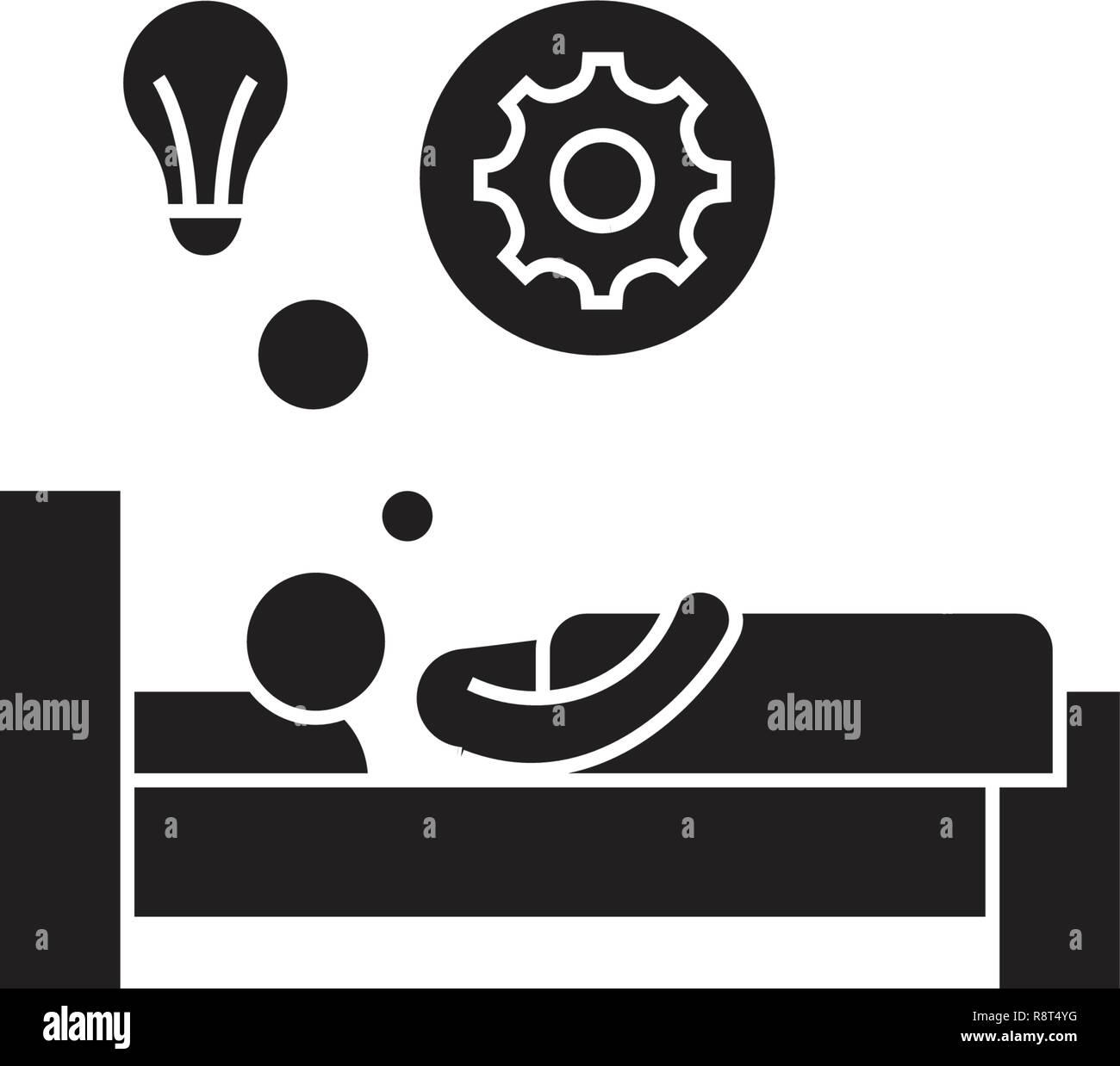 Idée lumineuse au lit vecteur icône noire concept. Idée lumineuse au lit télévision illustration, sign Illustration de Vecteur