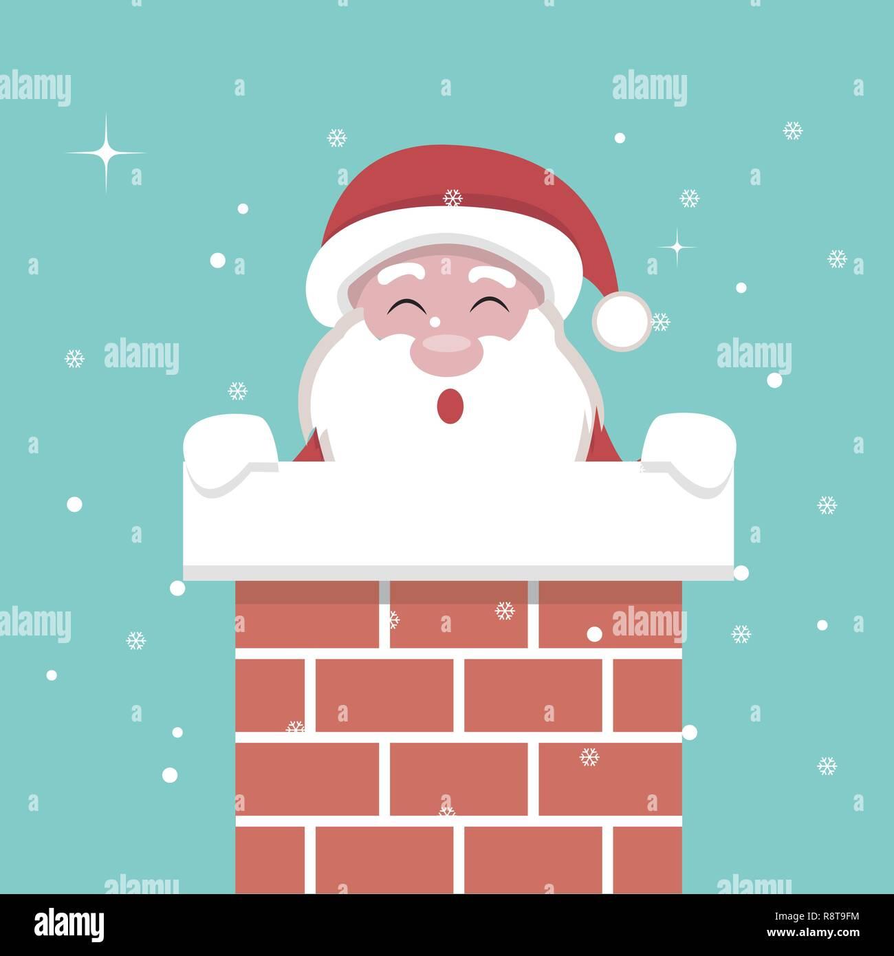 Carte de Noël du Père Noël à l'intérieur de la cheminée Image