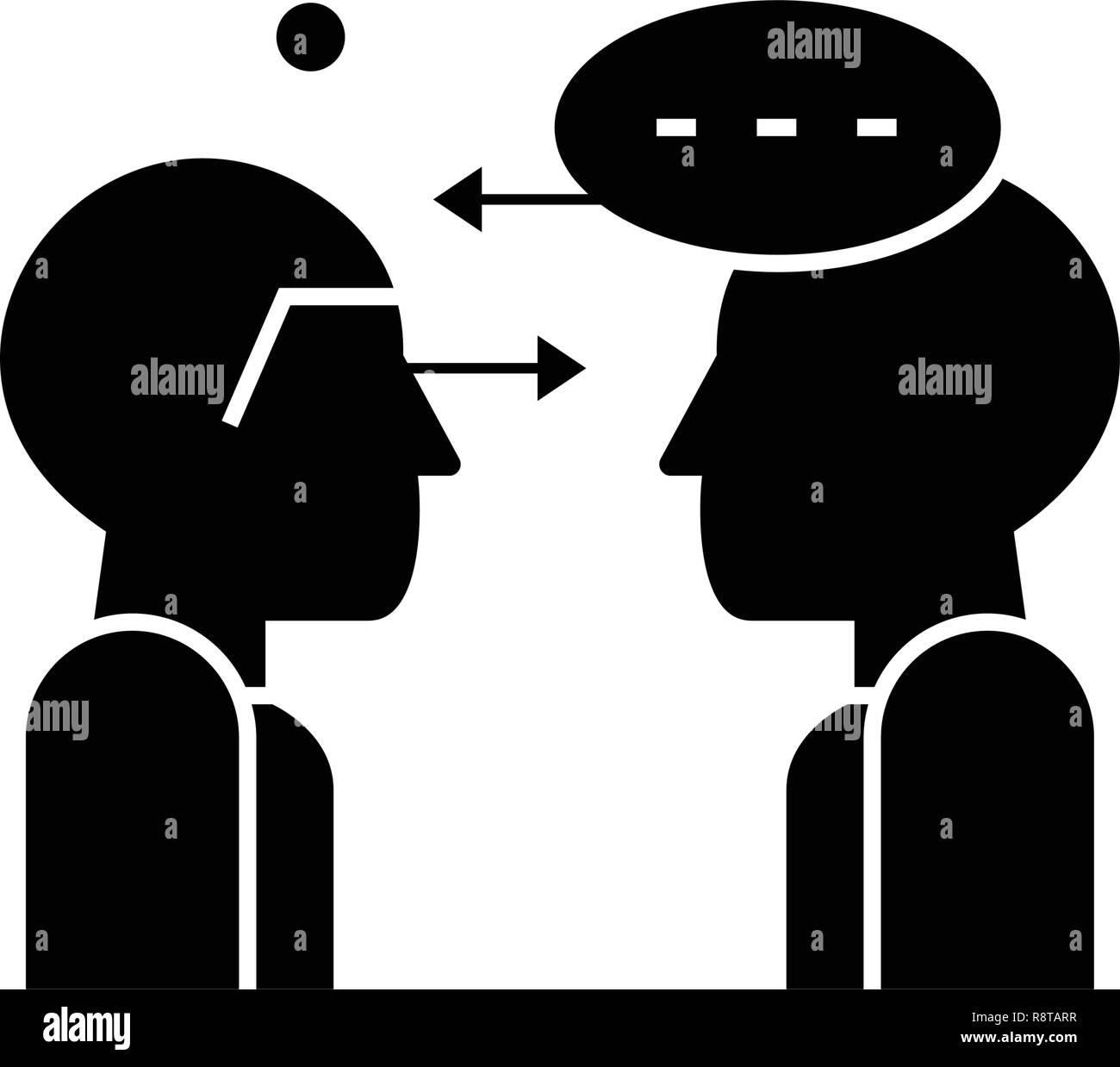 La synergie de vecteur icône noir parle concept. Synergie parle télévision illustration, sign Photo Stock