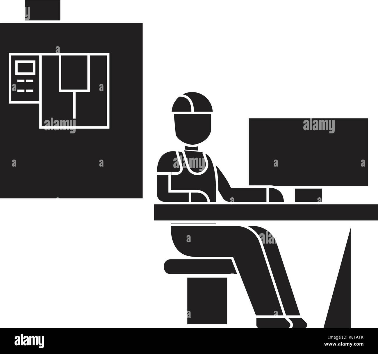 Lieu de travail technicien vecteur icône noire concept. Lieu de travail technicien télévision illustration, sign Illustration de Vecteur