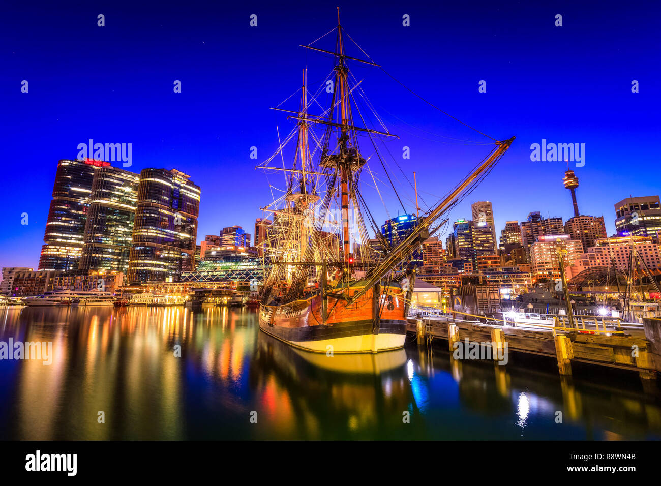 Bateau à voile à Darling Harbour, Sydney Photo Stock