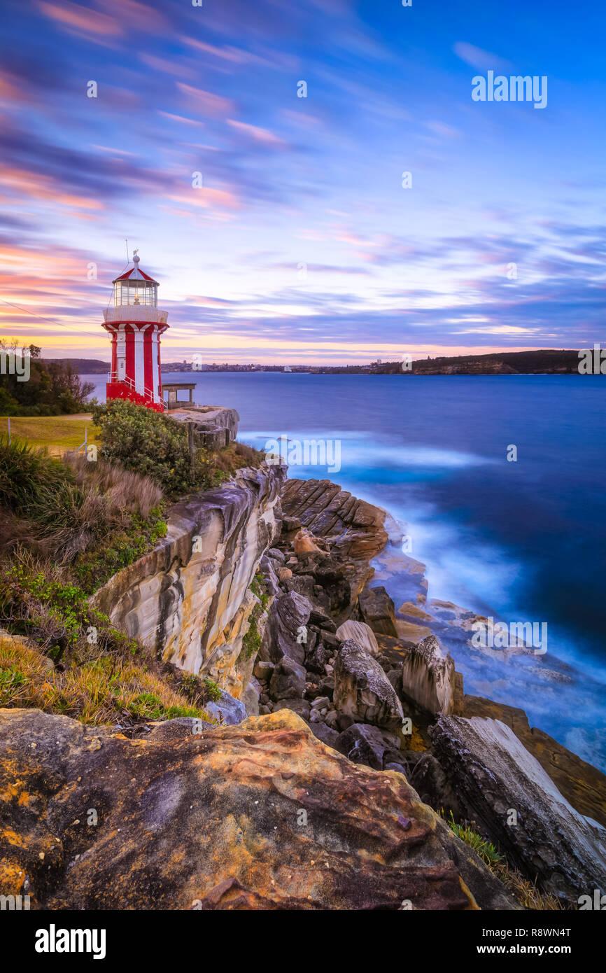 Hornby Lighthouse Coucher du Soleil, Sydney Photo Stock