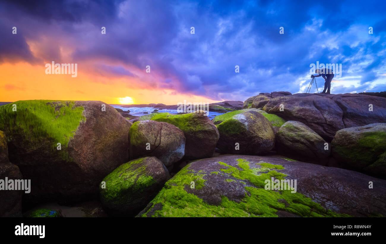 Photographier un orage par la mer Photo Stock