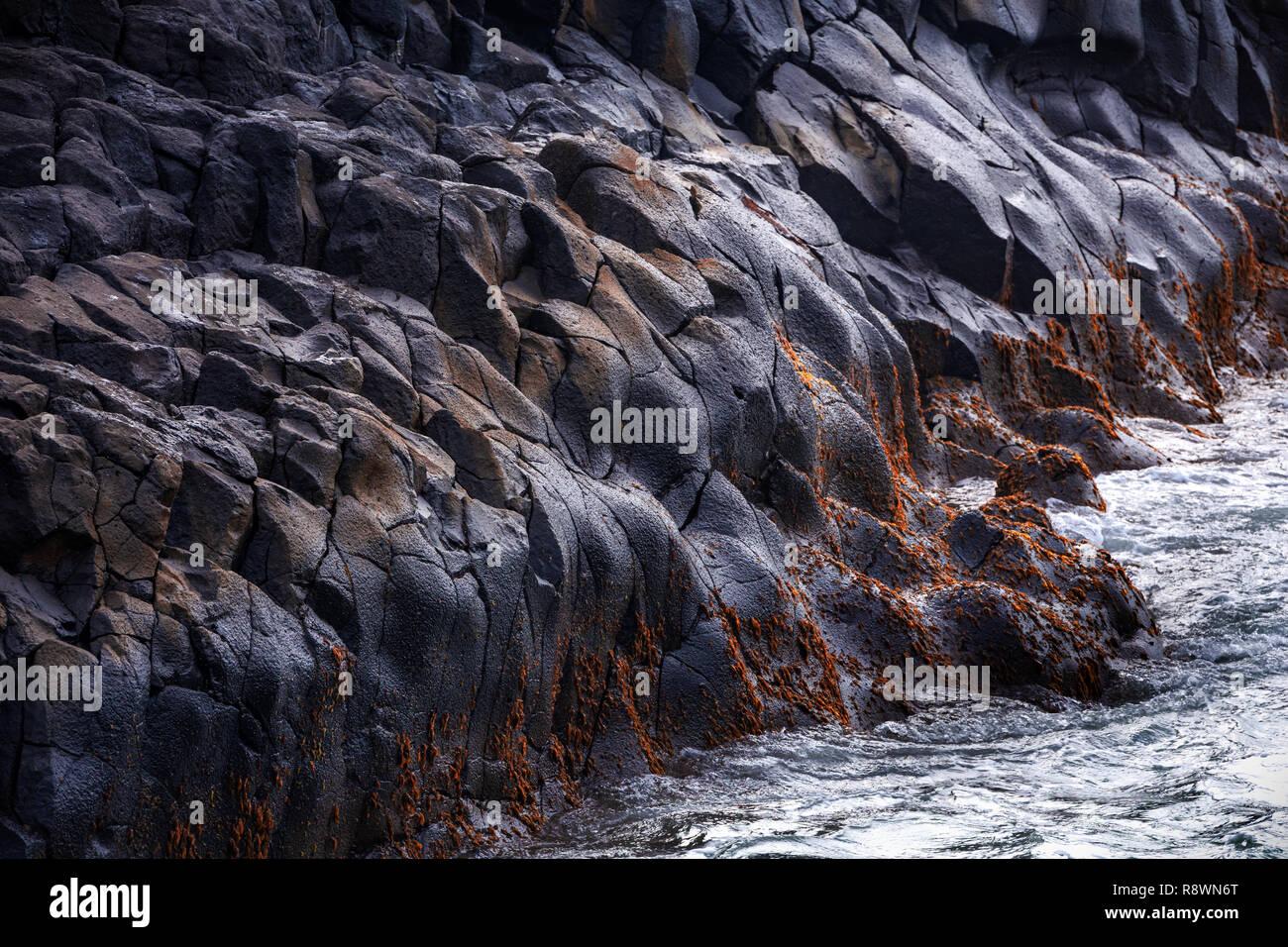 Seascape de basalte, des zones sombres, l'ouest de l'Australie Photo Stock