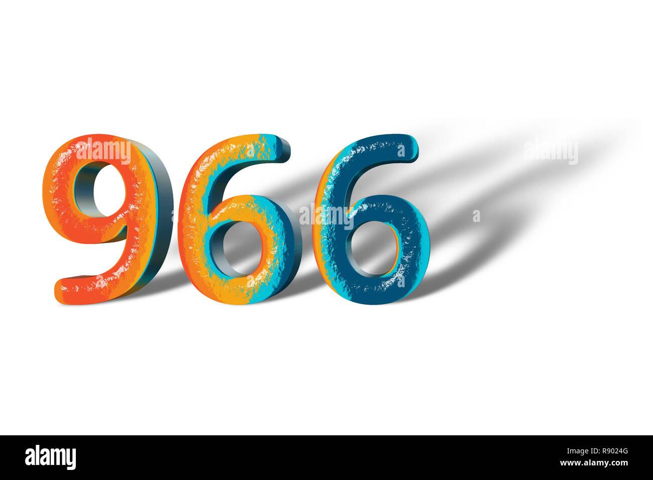 Numéro 966 3D neuf cent soixante six couleurs vives Photo Stock