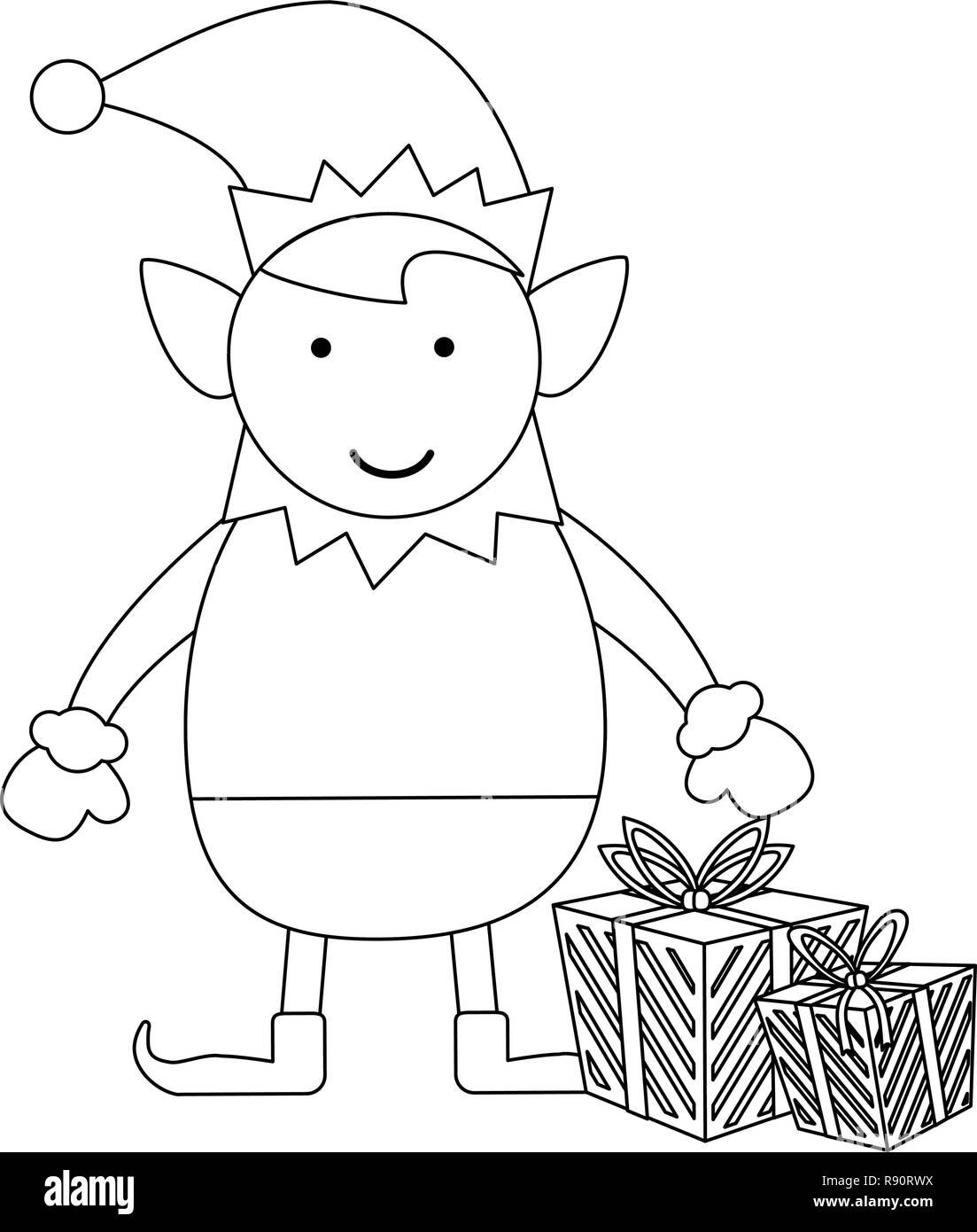 Lutin De Noël Noir Et Blanc Dessin Animé Vecteurs Et