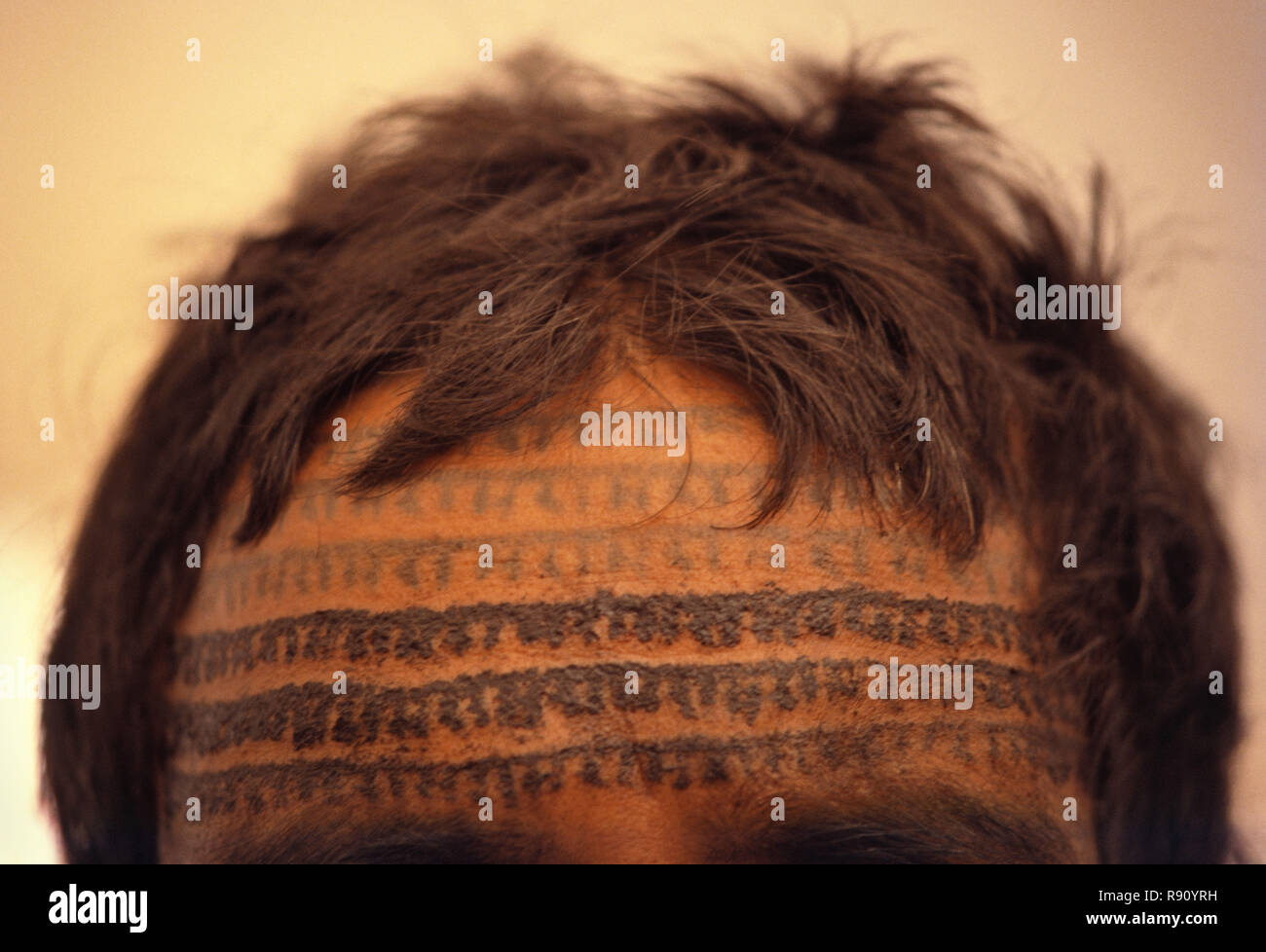 Front tatoué de Ramnaami dévot avec l'utilisation répétée du nom du Seigneur Ram. Il faut 3 à 4 mois de tatouer tout le corps, le Centre de l'Inde. Photo Stock