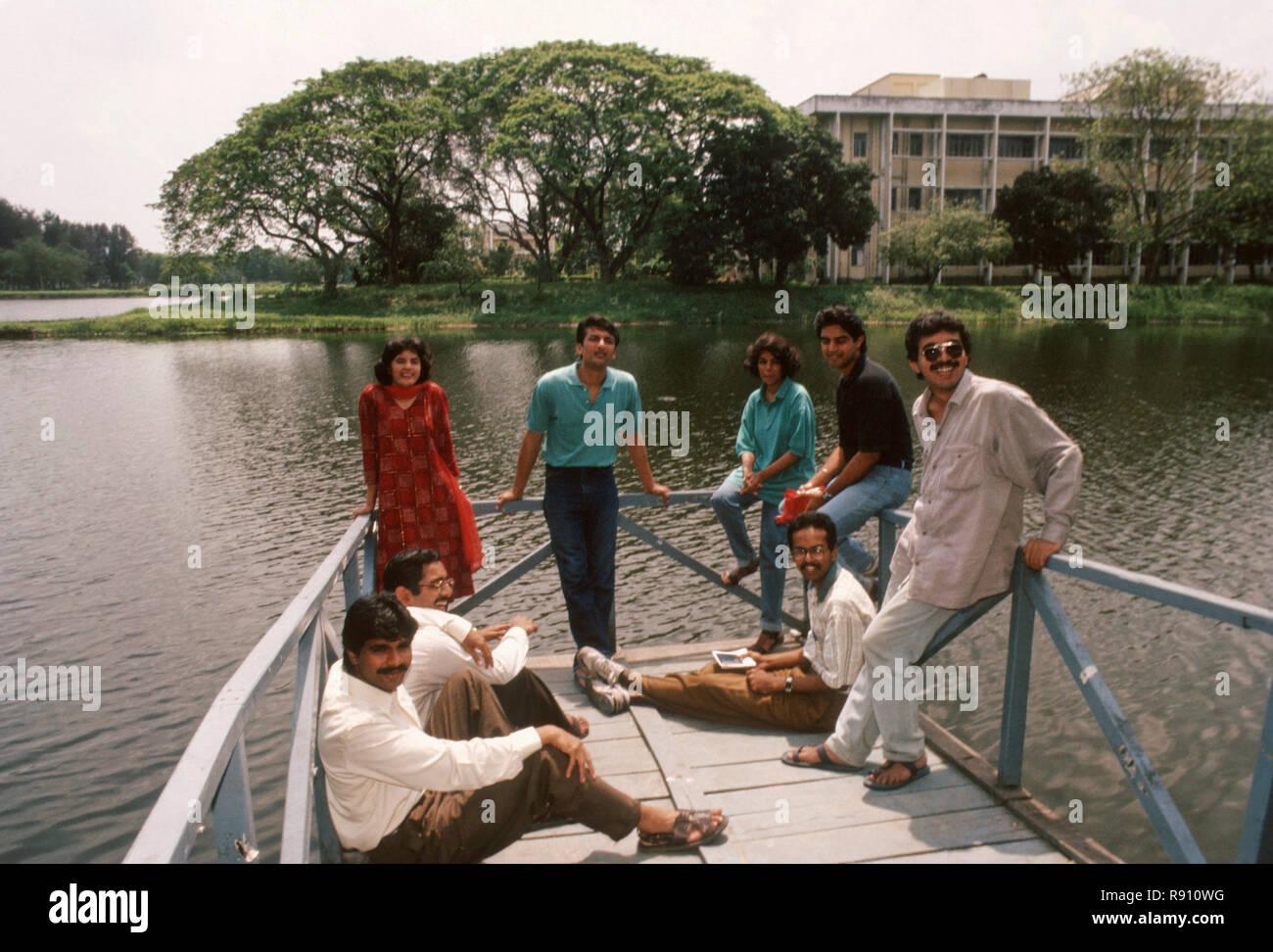 Les étudiants de l'IIMC collage campus, Inde Photo Stock