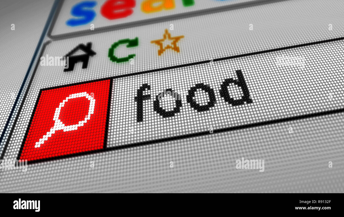 La Recherche De Nourriture Sur Linternet En Tapant Le Mot