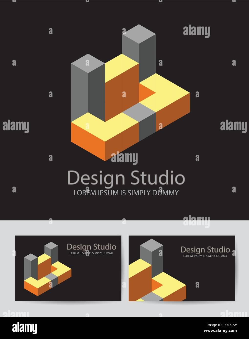 Logotype Abstrait 3D Isometrique Dimensions Modele De Forme Pour Des Cartes Visite Invitations Presentations Et Dimpression
