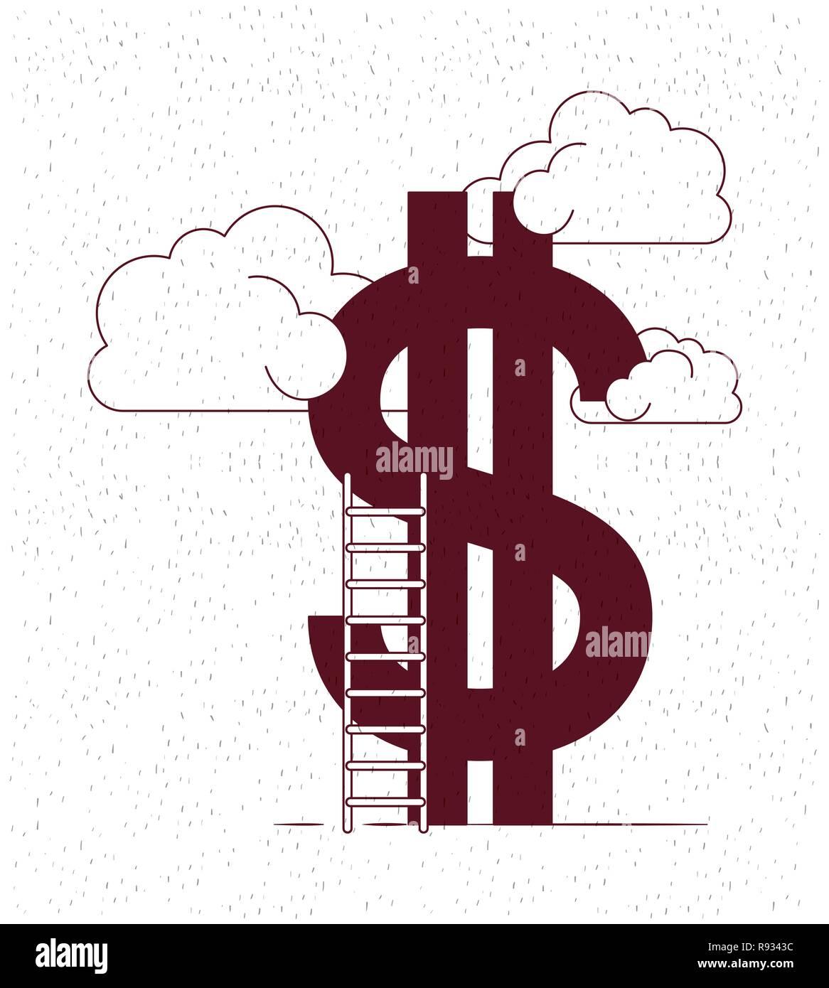 De l'argent avec des nuages et des escaliers Illustration de Vecteur
