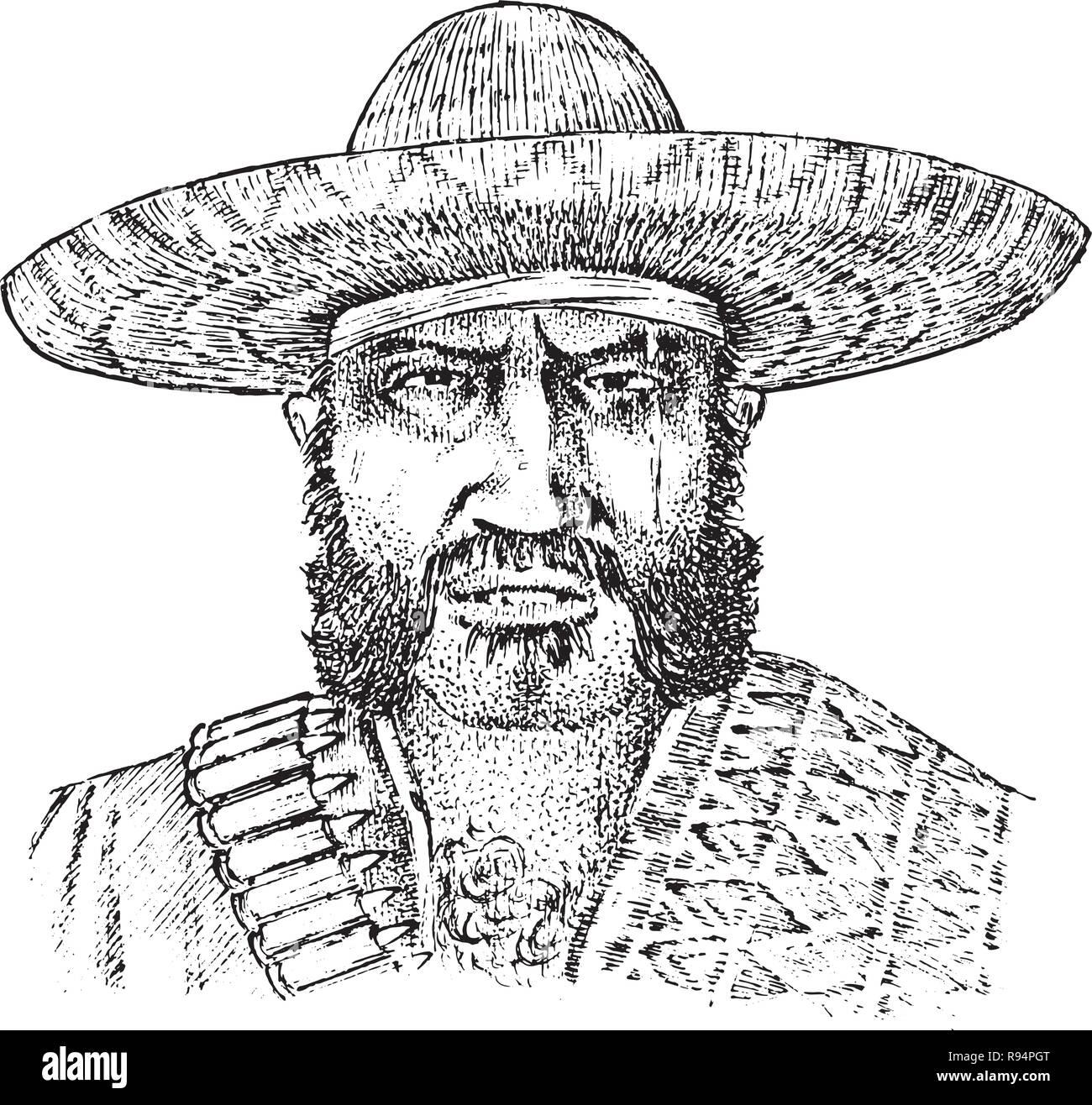 répliques correspondant en couleur design distinctif Cowboy face close up. L'homme du Mexique. Sheriff en ...