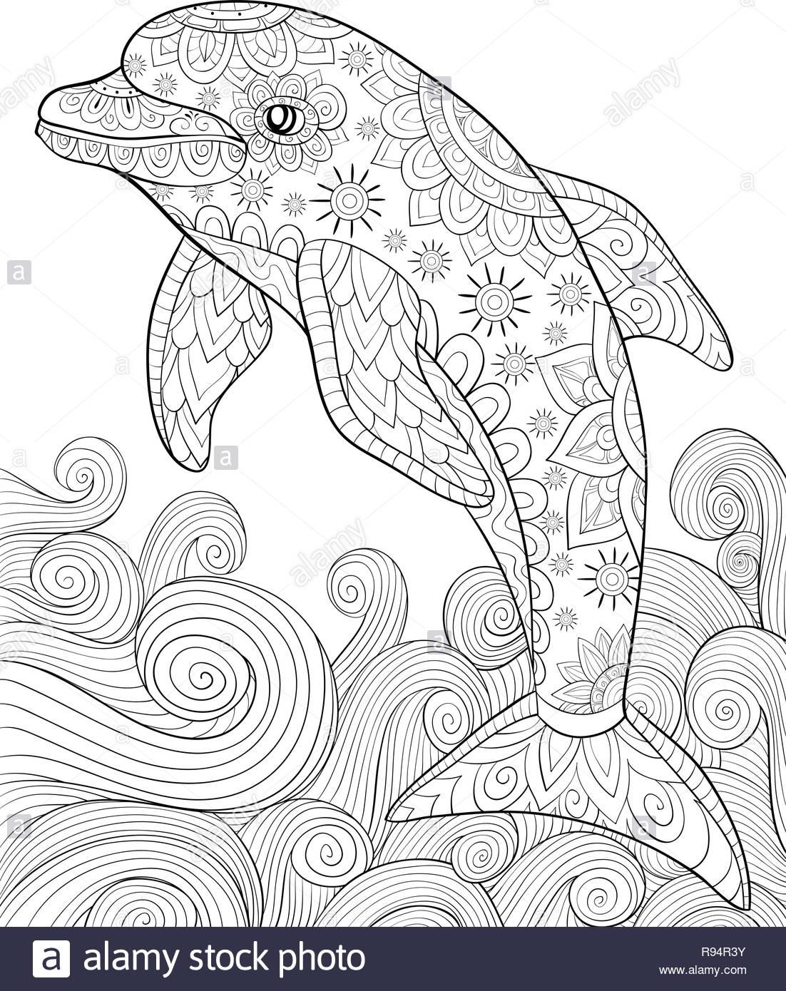 Un Mignon Dolphin Avec Des Ornements Et Des Vagues De Droit Pour Se