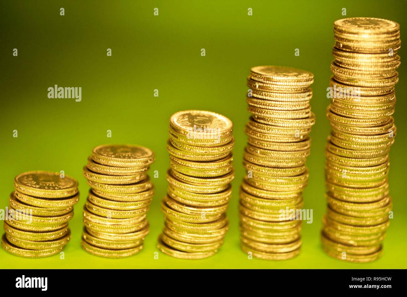 Concept, coins, la croissance Photo Stock