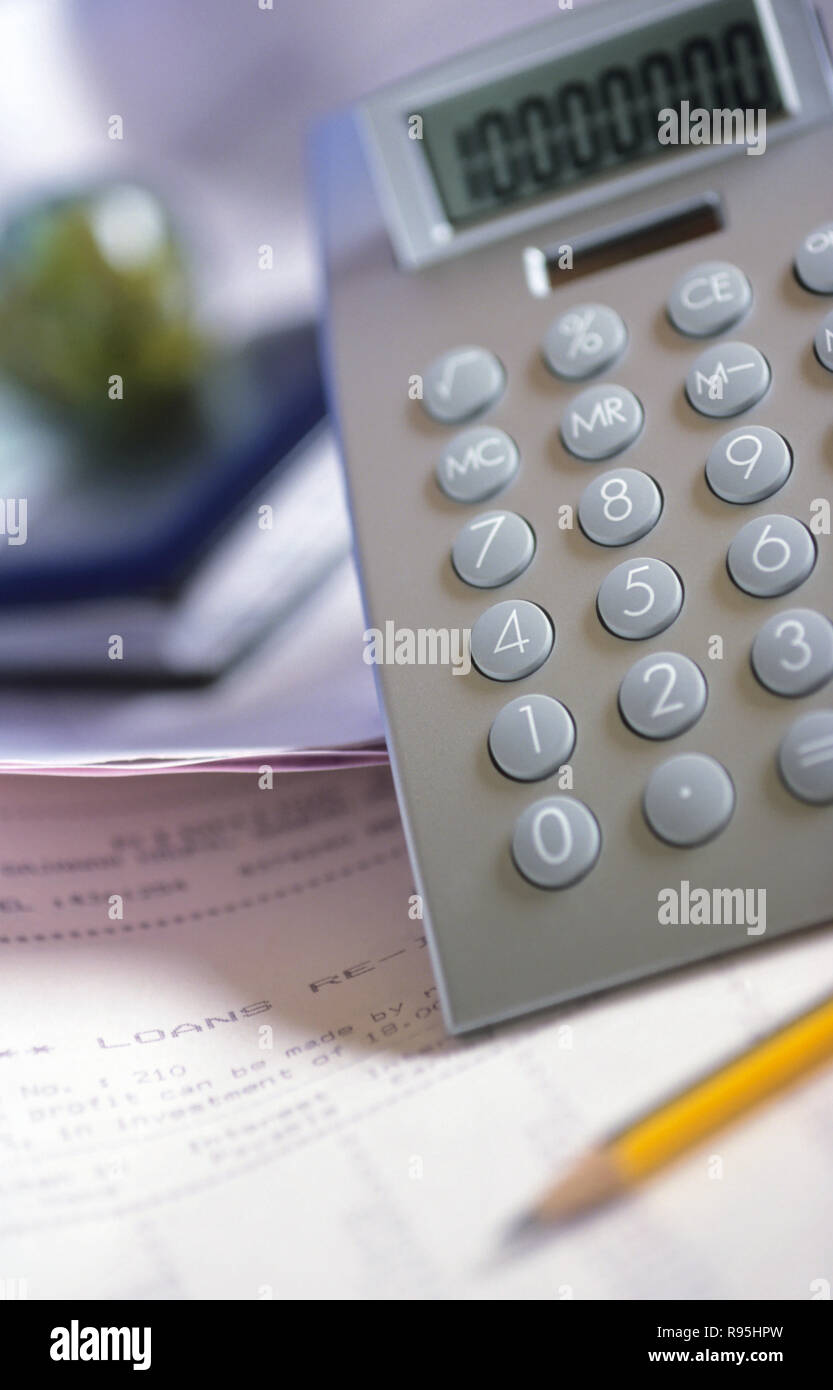 Concept, calculatrice, Inde Photo Stock