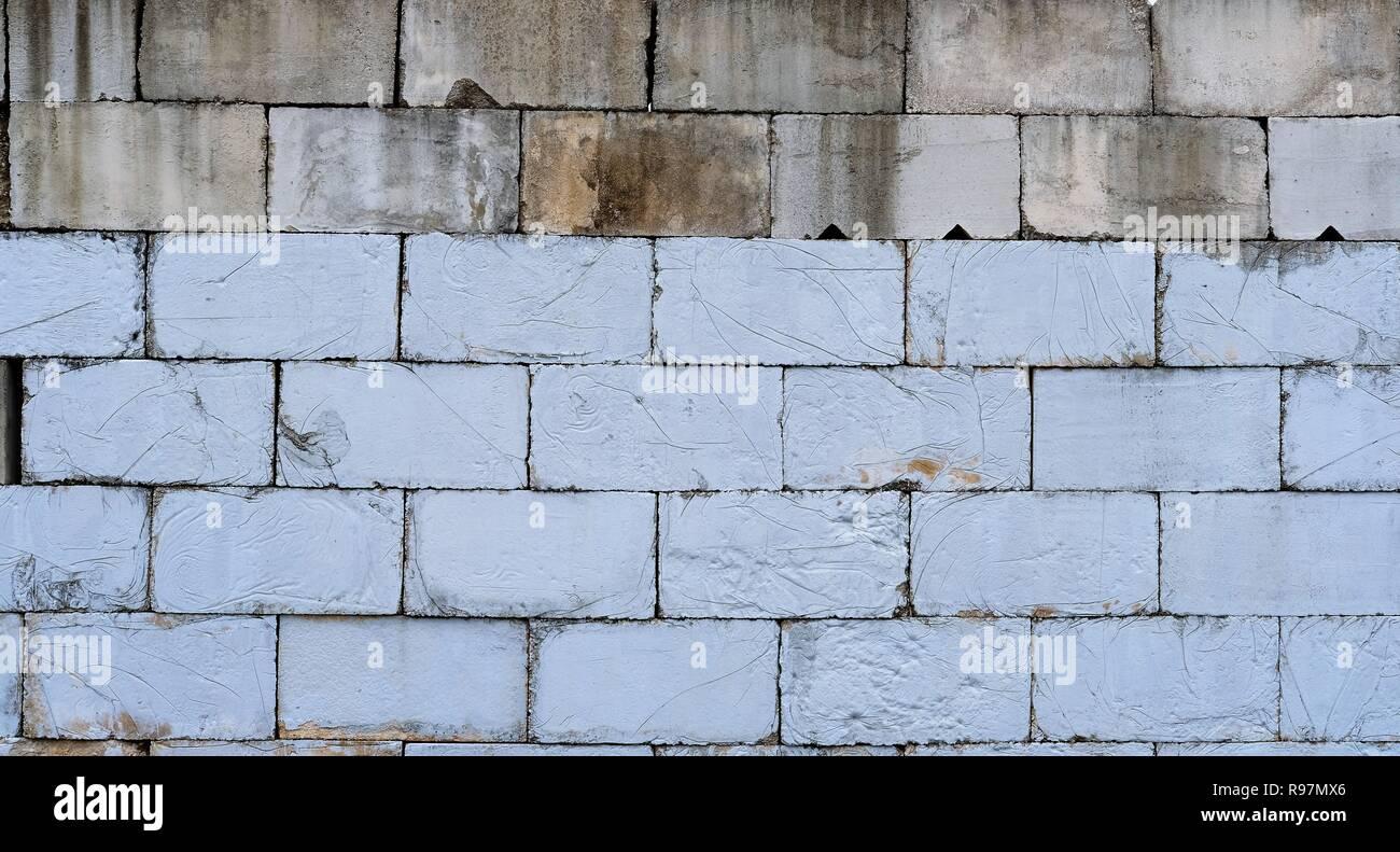 Mur De Briques De Béton Deux Tons Gris Et Naturel Couleur