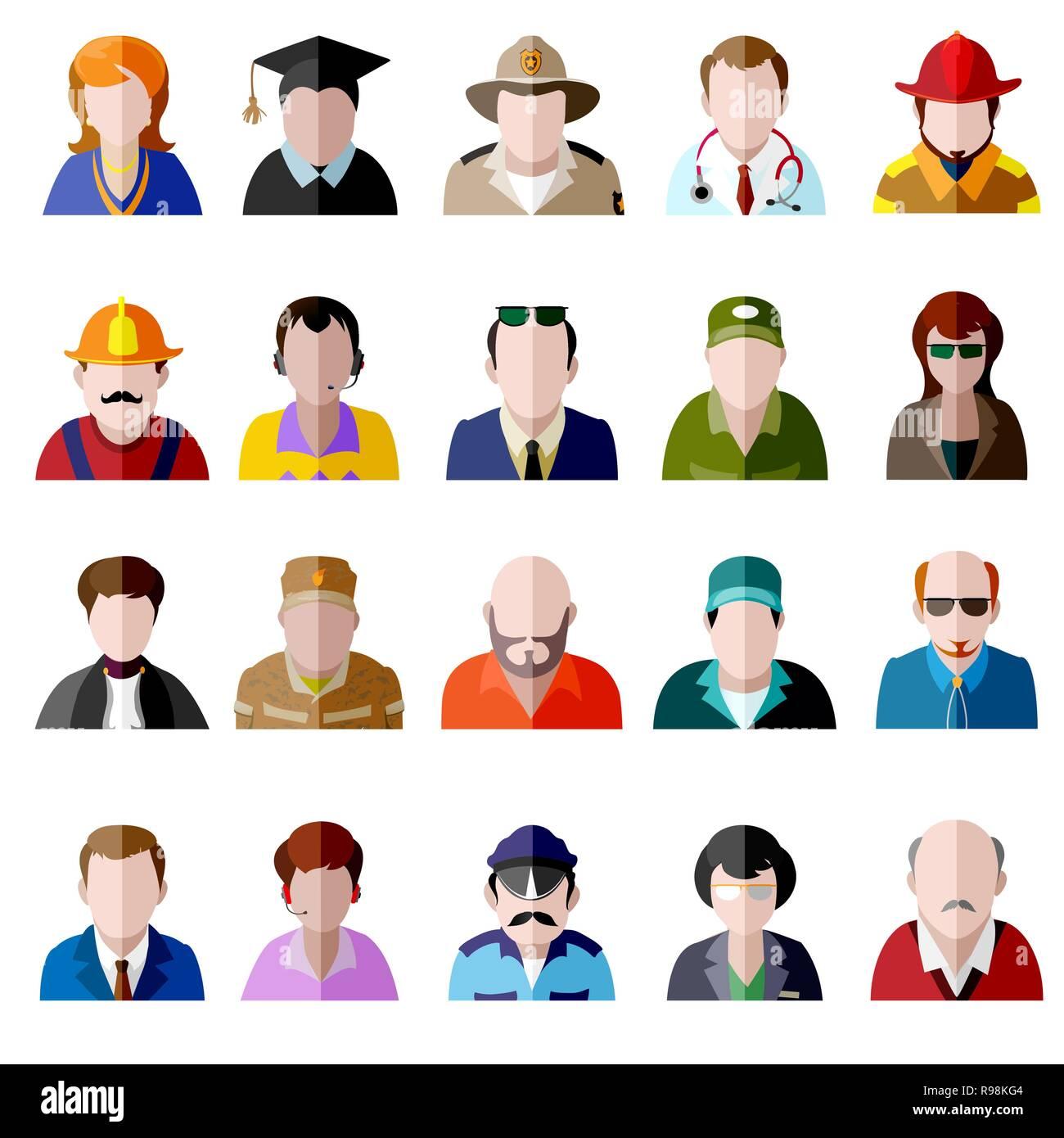 Vecteur de couleur télévision icon set. Différentes personnes personnage: féminin, masculin, prisonnier, agent de police, fille, grand-mère, grand-père, étudiant, homme d'affaires, Illustration de Vecteur