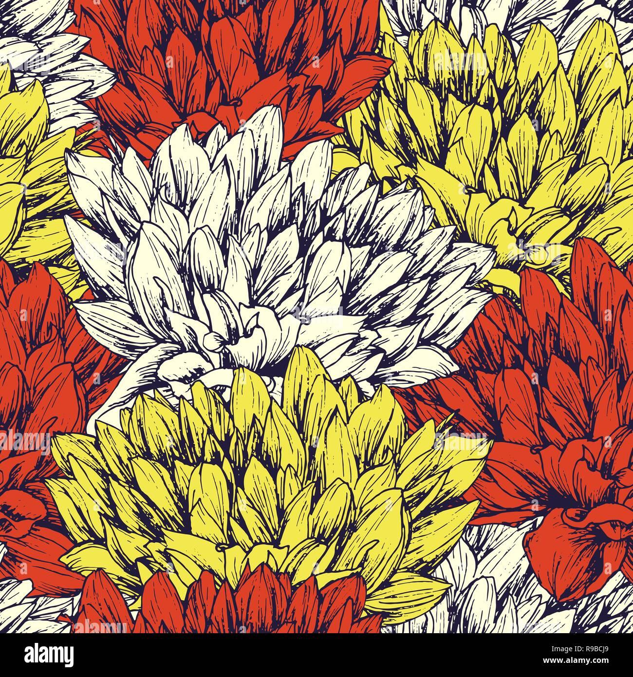La Pivoine Hand Drawn Seamless Pattern Stylo Encre Floral