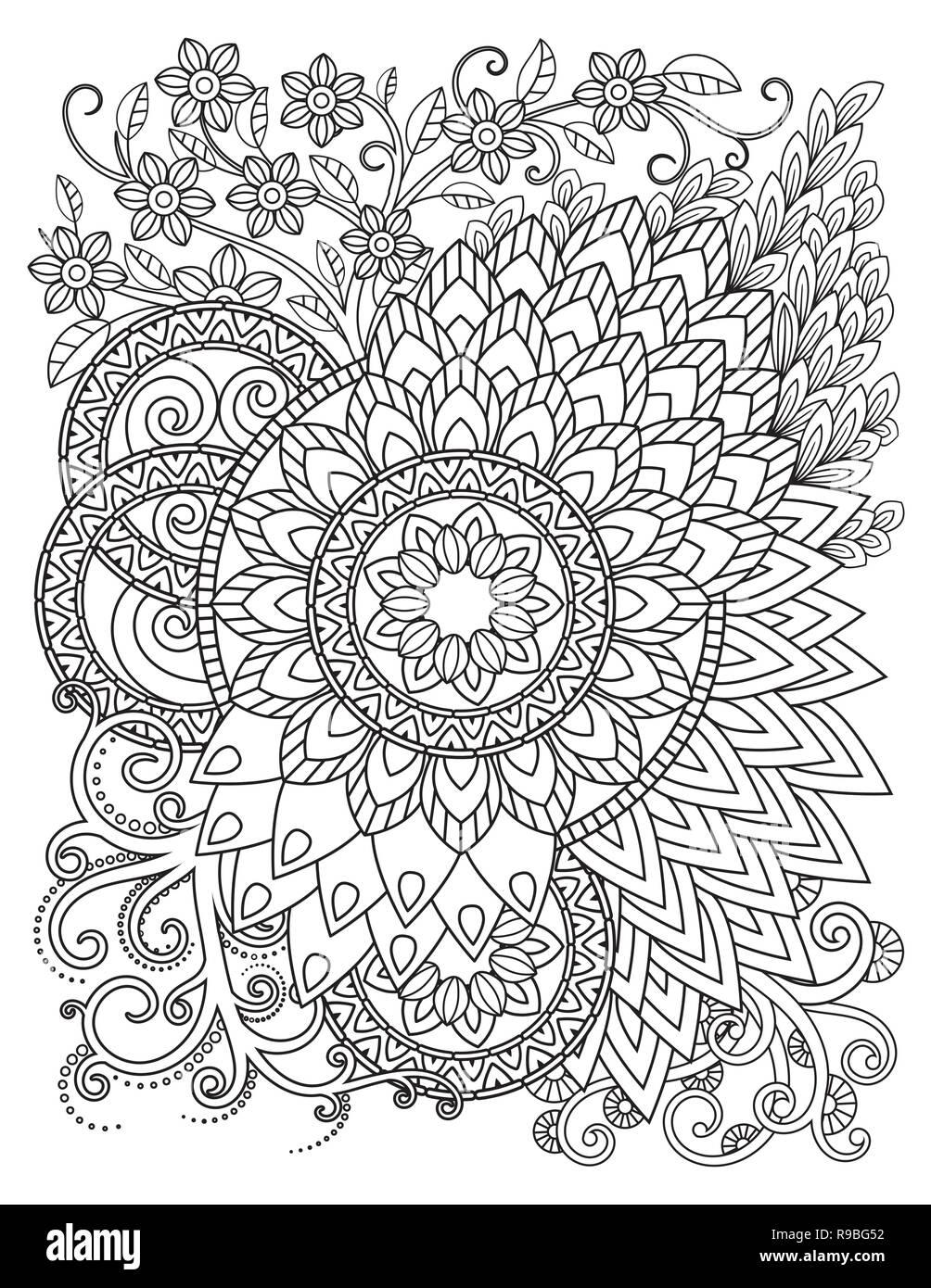 Coloriage Adulte Vintage.Modele De Mandala En Noir Et Blanc Livre De Coloriage Adultes Page