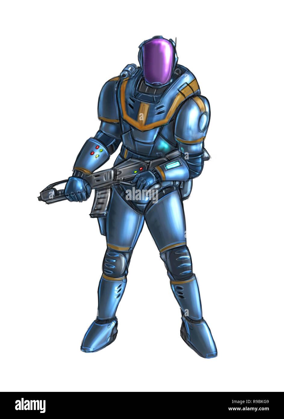 Armure Futuriste concept art illustration science-fiction futuriste de caractère