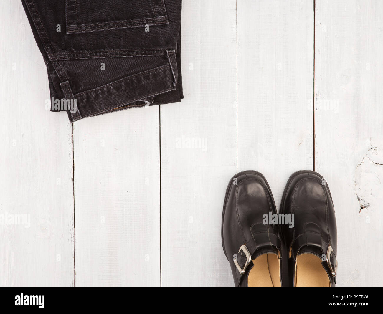 Jeans and black shoes photos & jeans and black shoes images alamy