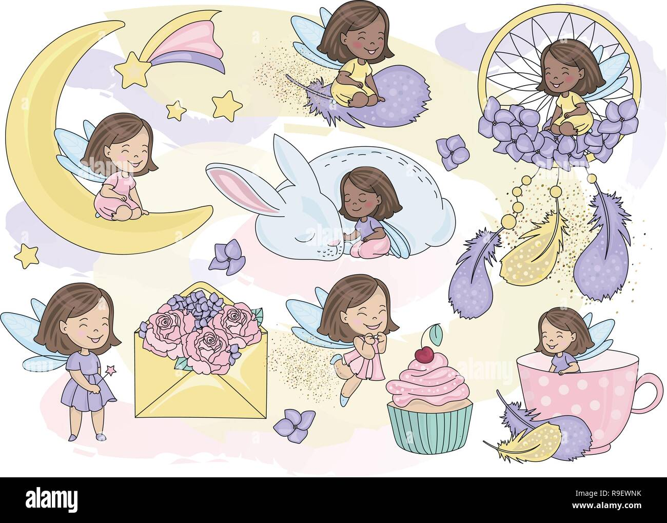 Glitter Fairy Mousseux Clipart Vector Illustration Couleur