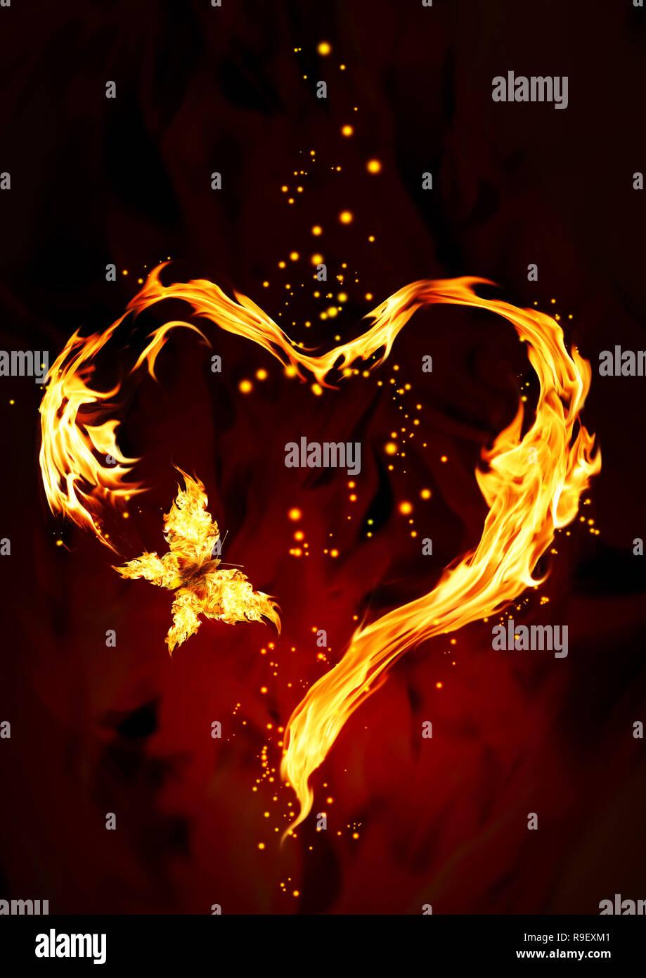 Flamme lumineuse sous forme de coeur Banque D'Images