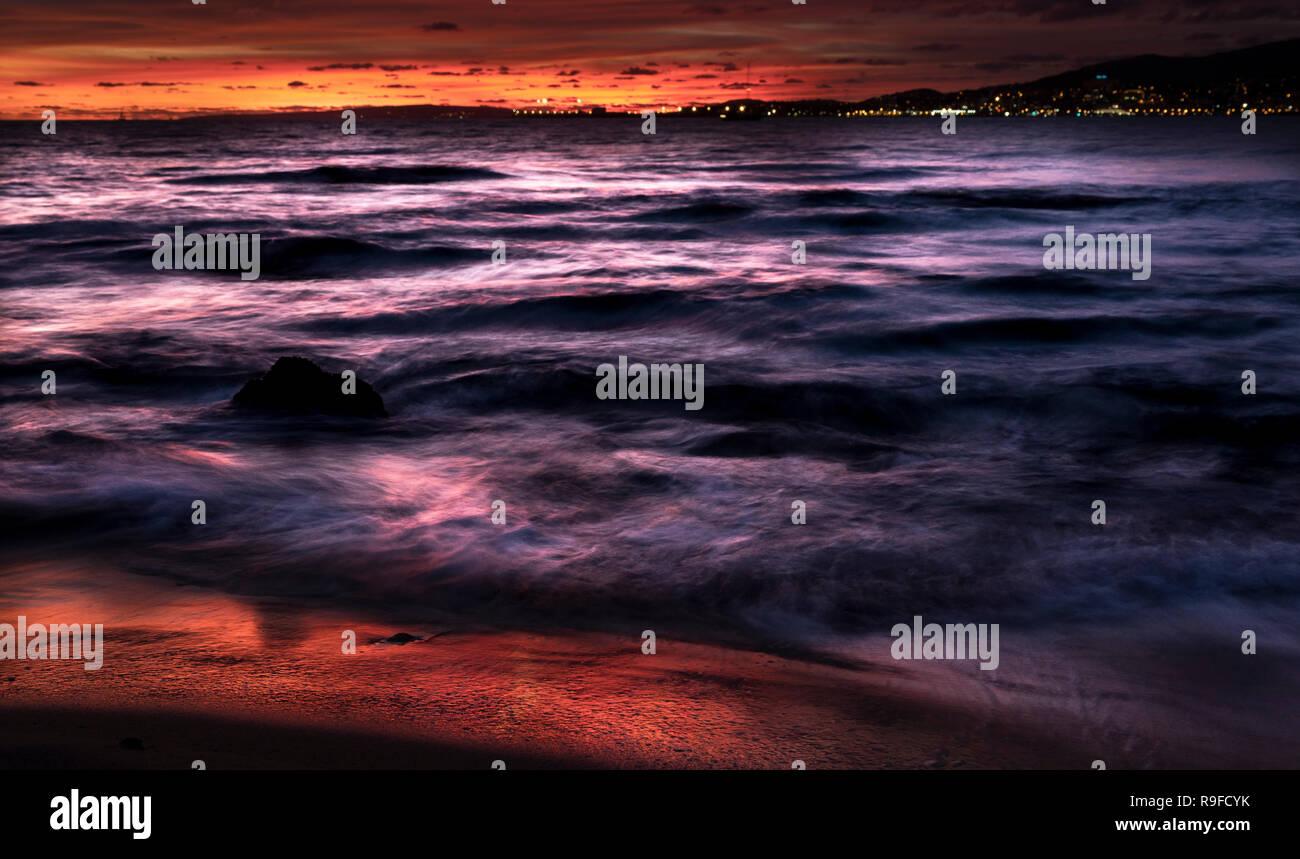 Coucher du soleil sur la plage de Palma Banque D'Images