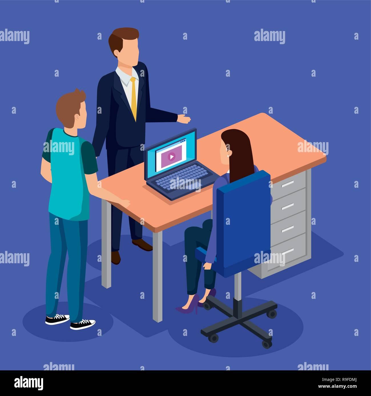 Les gens d'affaires dans le milieu de travail Illustration de Vecteur