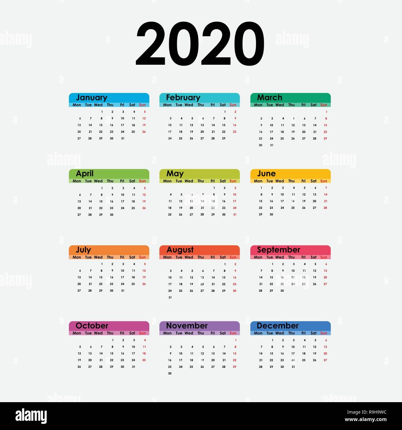 Modele De Calendrier 2020.Calendrier 2020 Calendrier 2020 Modele Lot De 12 Mois