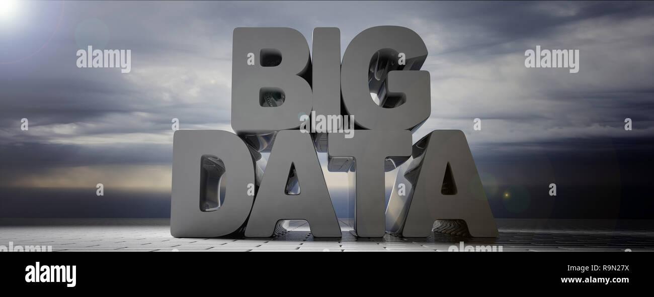 Big data text gris sur fond de ciel nuageux, la bannière. 3d illustration Banque D'Images
