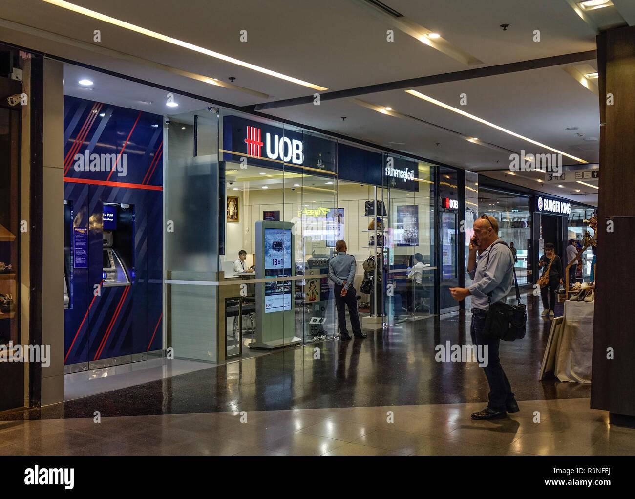Bangkok, Thaïlande - Sep 16, 2018. Succursale de banque UOB à Bangkok, Thaïlande. Bangkok est la capitale de la Thaïlande, avec une population de plus de 7 millions d'inha Banque D'Images