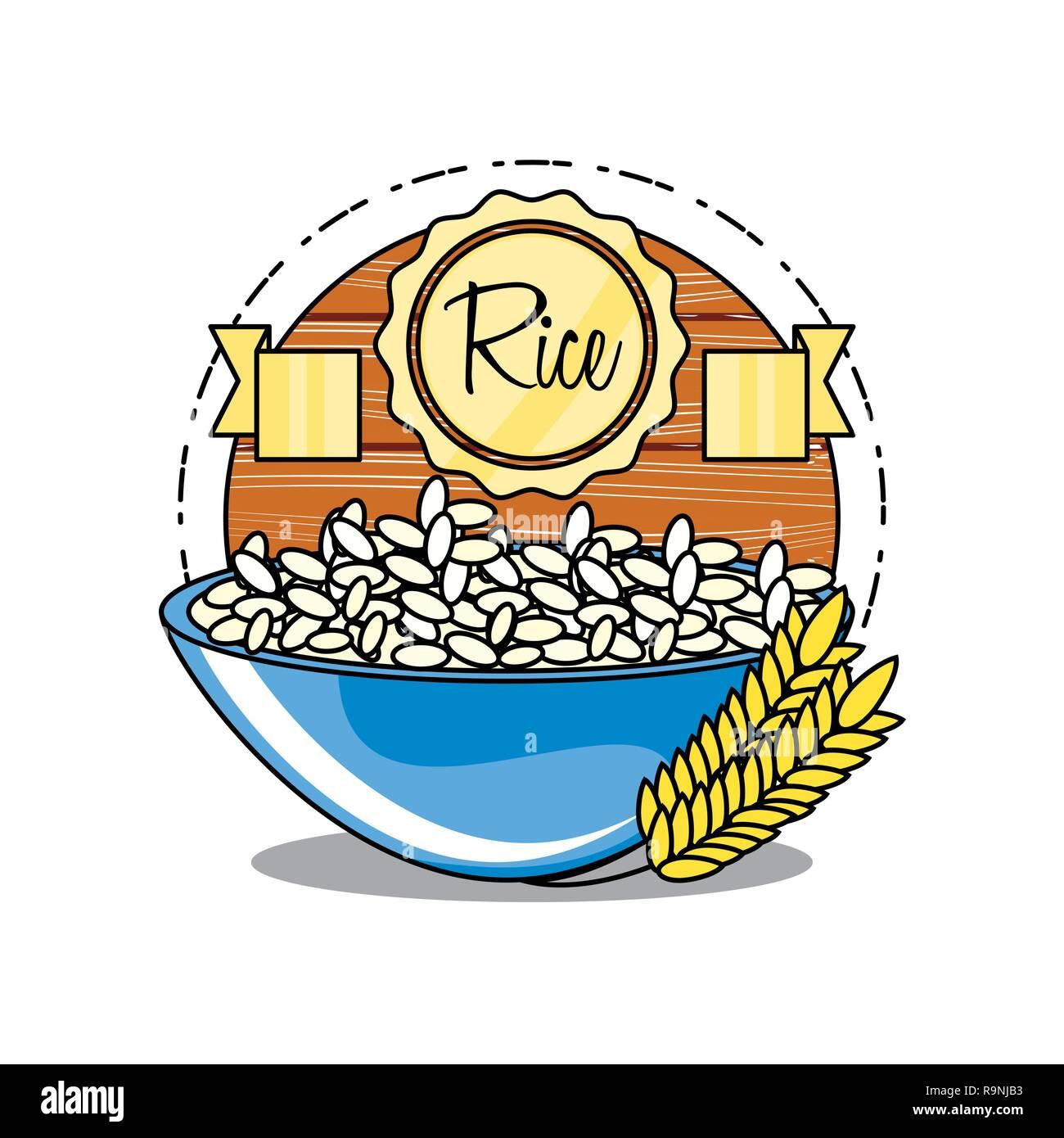 Frais et délicieux dans un bol de riz vector illustration design Illustration de Vecteur