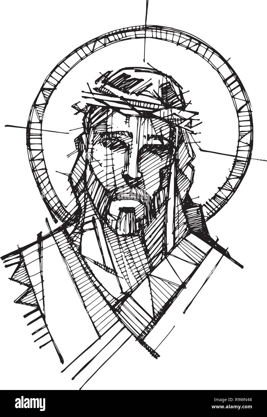 Hand Drawn Vector Illustration Ou Dessin De Jesus Christ Face A Sa