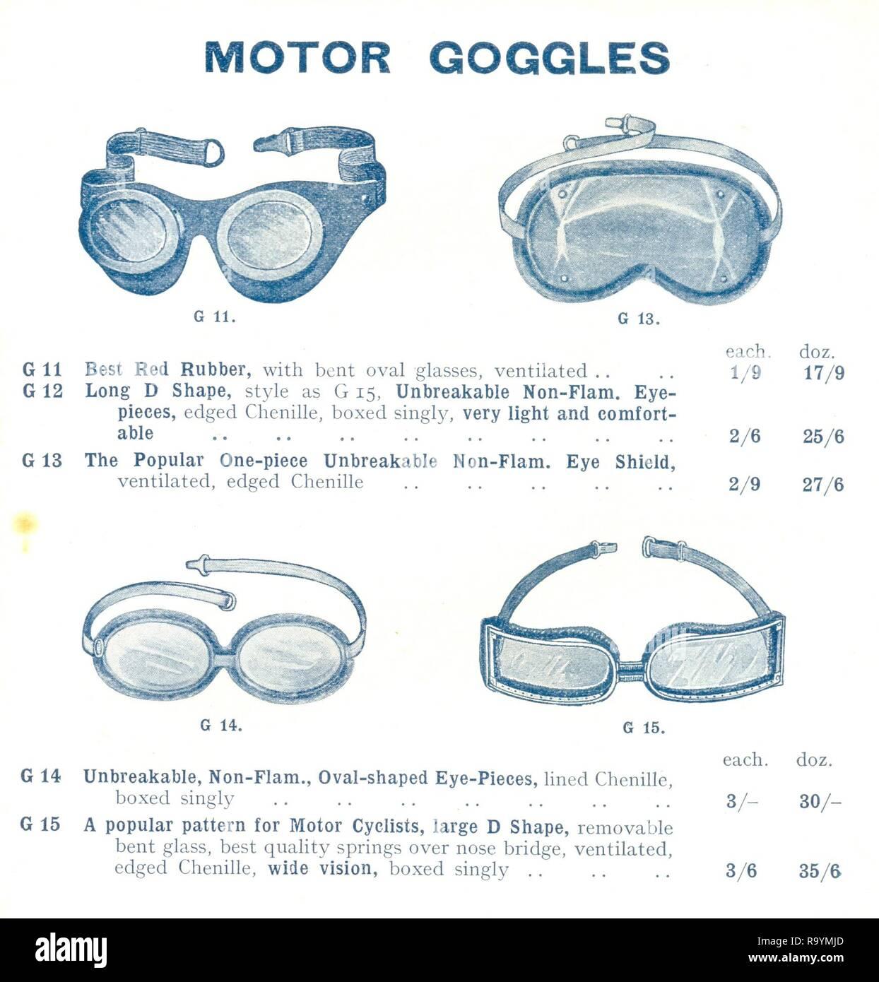 a3e4bf25e5667a Publicité pour des lunettes moteur de 1922 Catalogue Banque D Images ...