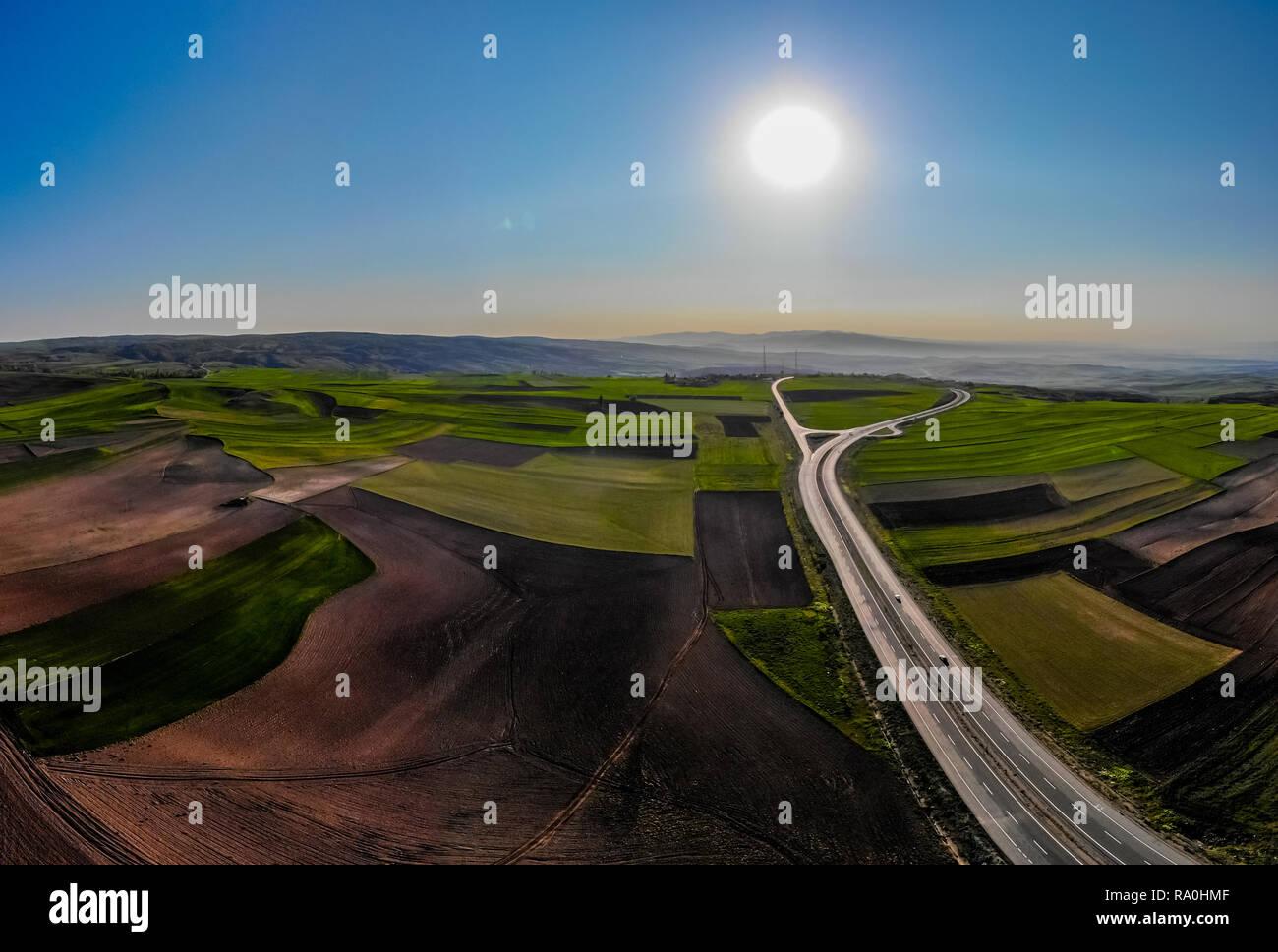 La belle vue de drone champs agricoles au printemps Banque D'Images
