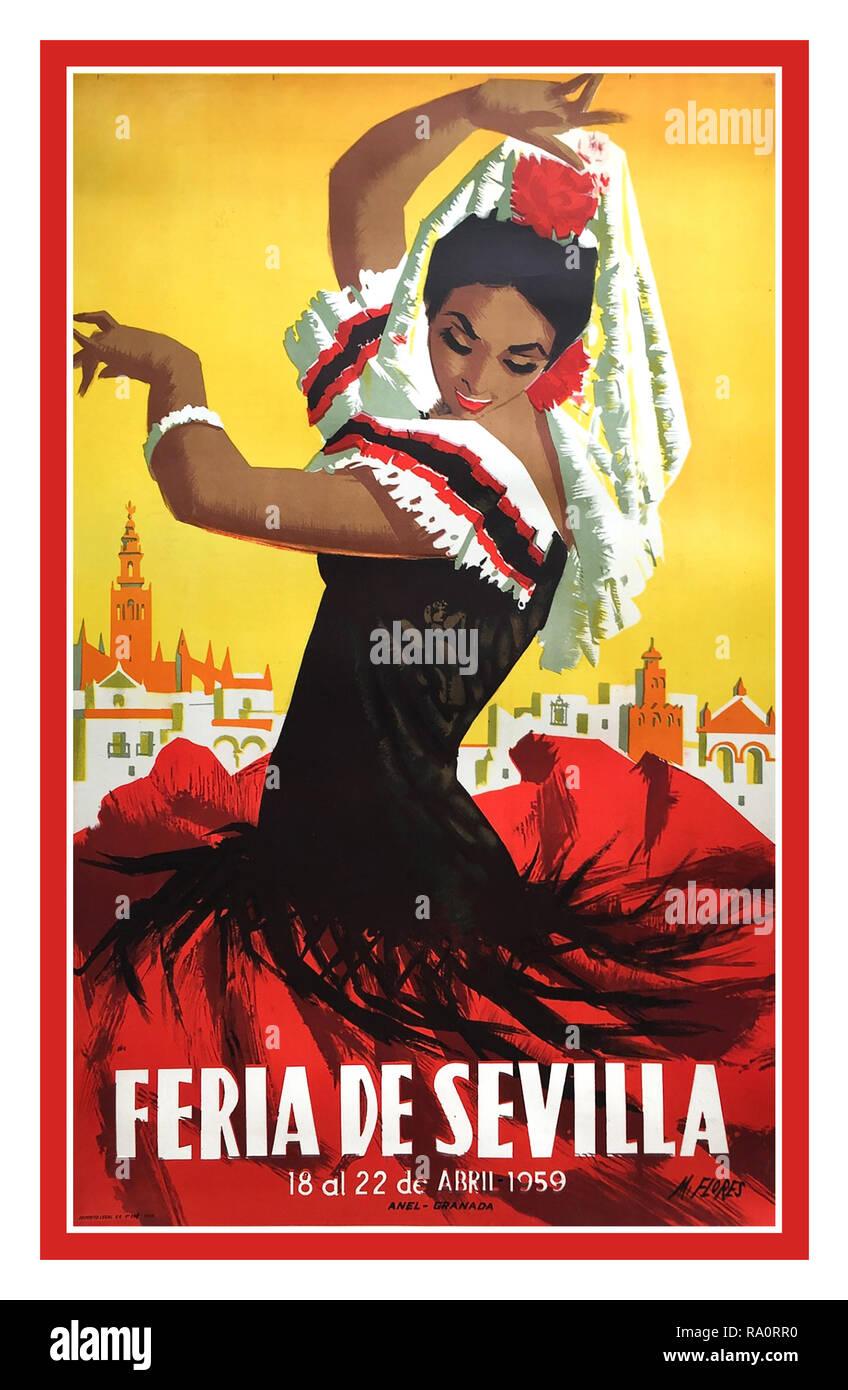 Seville Fiesta Vintage Poster Voyages Espagnole Des Annees 50 Festival De Seville Feria De Seville 1959