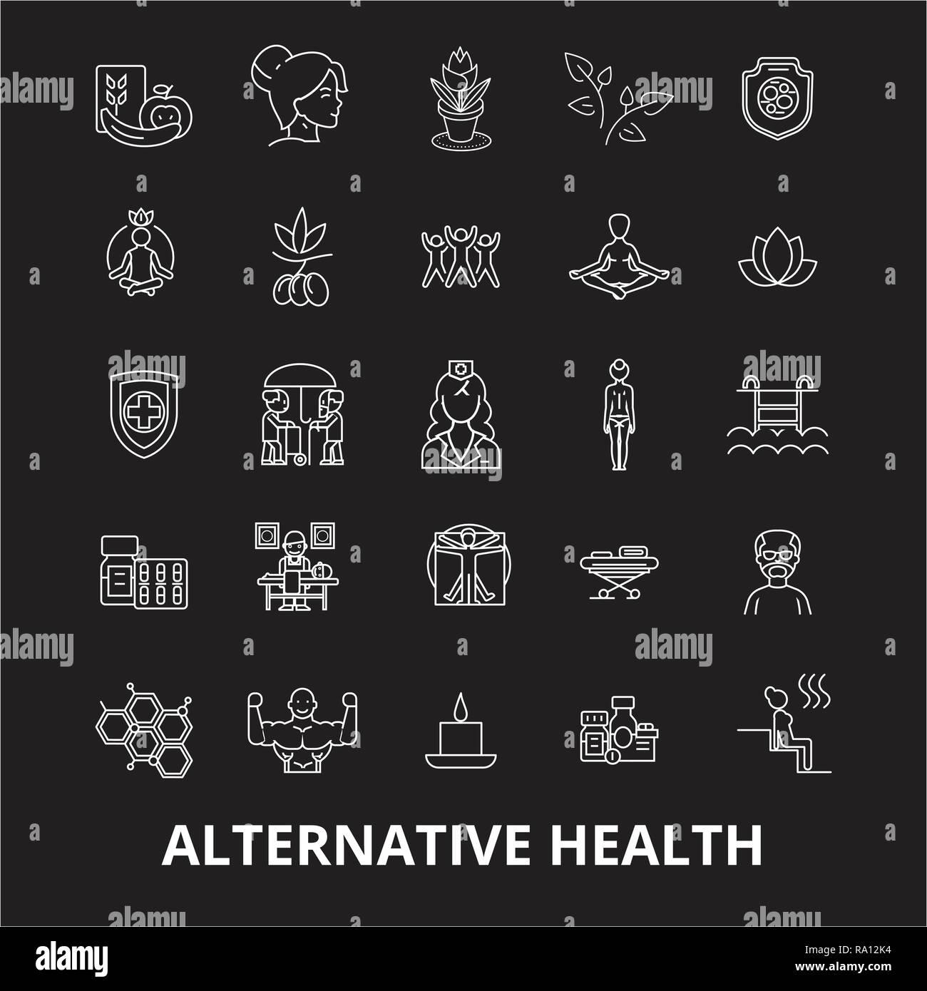Santé Alternative icônes ligne modifiable vector set sur fond noir. Santé Alternative contour blanc illustrations, signes, symboles Photo Stock