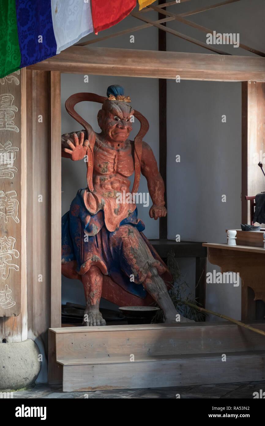 Nagasaki, Japon - 24 octobre 2018: Statue de Nio, gardien et protecteur à l'avant du temple Kotaiji Photo Stock